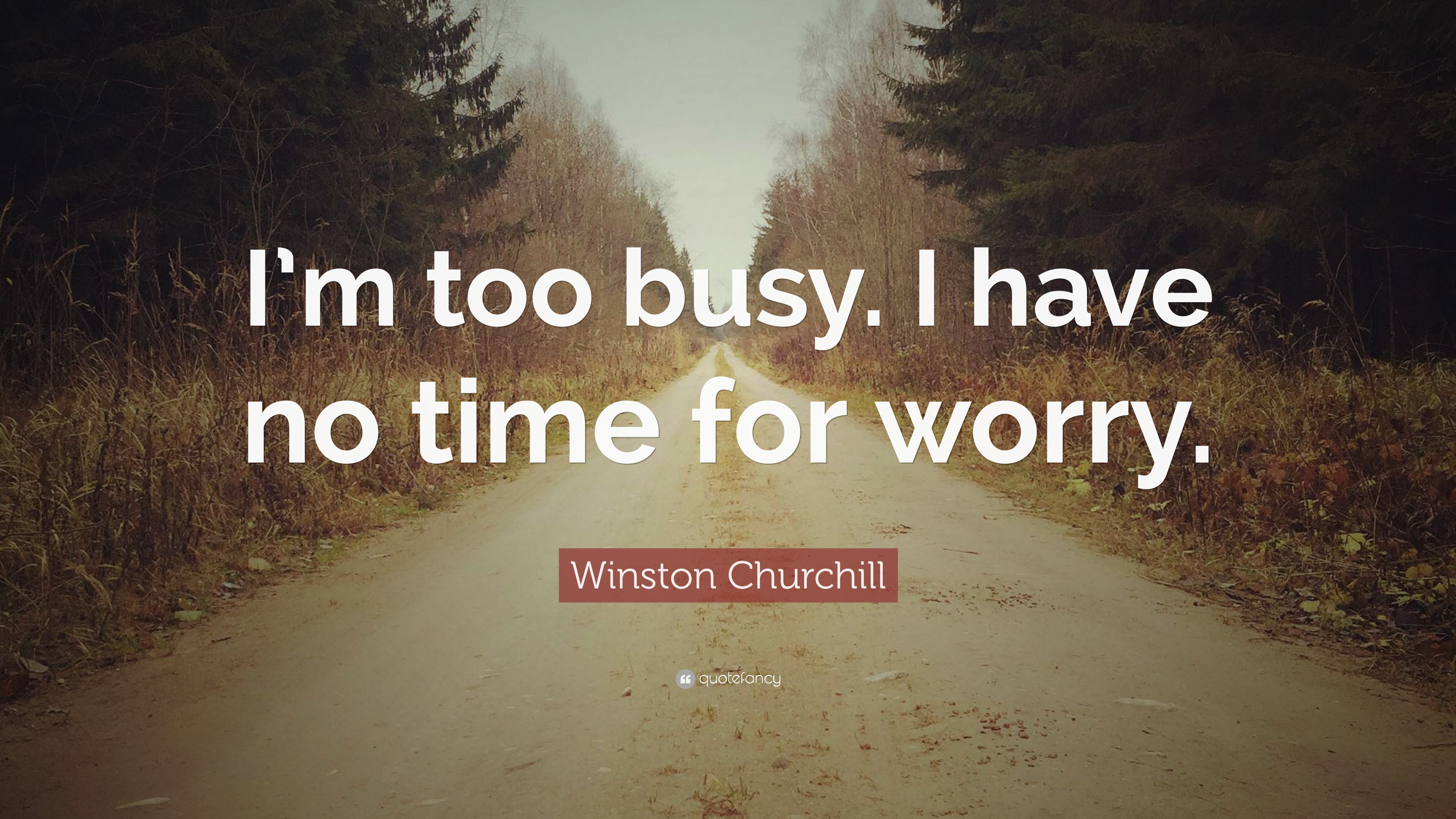 Winston Churchill Quote Im Too Busy I Have No Time For Worry