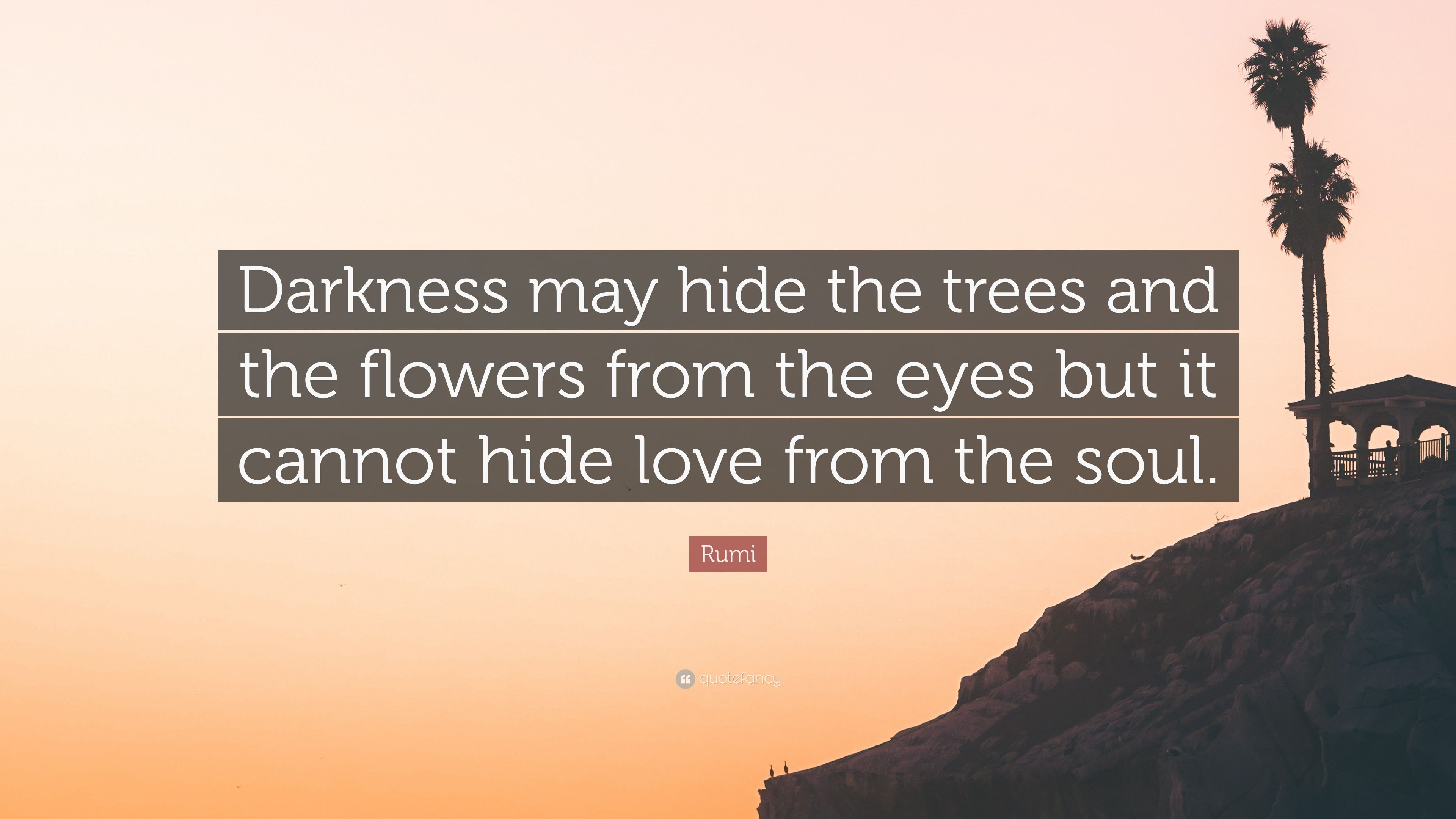 Rumi Quote Darkness May Hide The Trees And The Flowers From The
