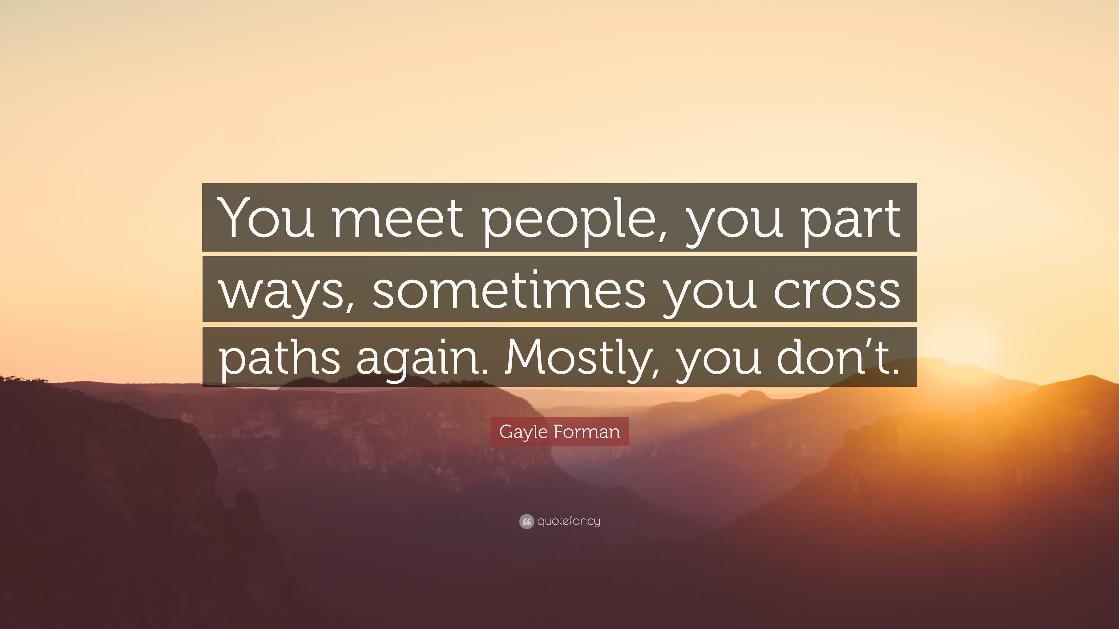 """Gayle Forman Quote: """"You meet people, you part ways, sometimes you cross"""