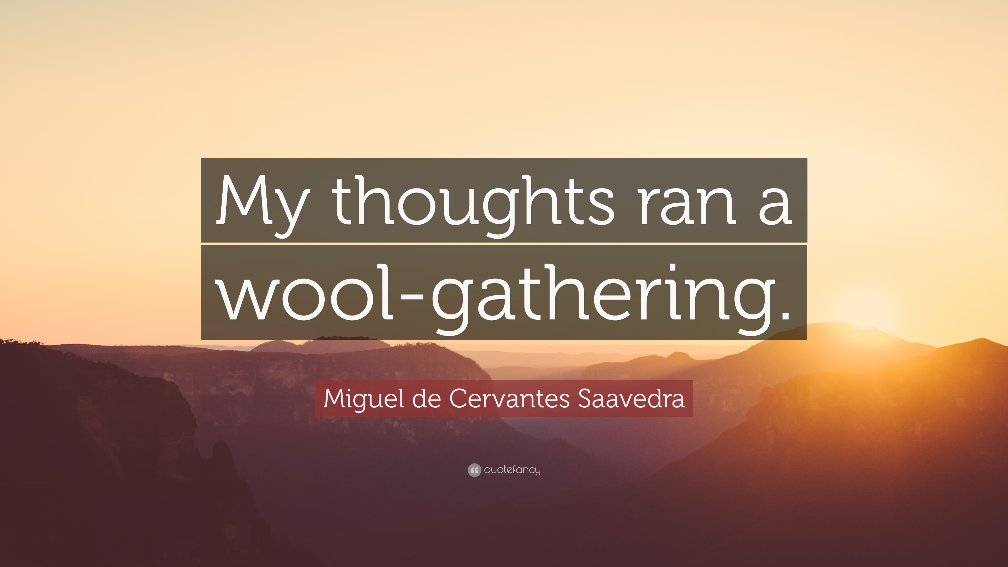 """Miguel de Cervantes Saavedra Quote: """"My thoughts ran a wool"""