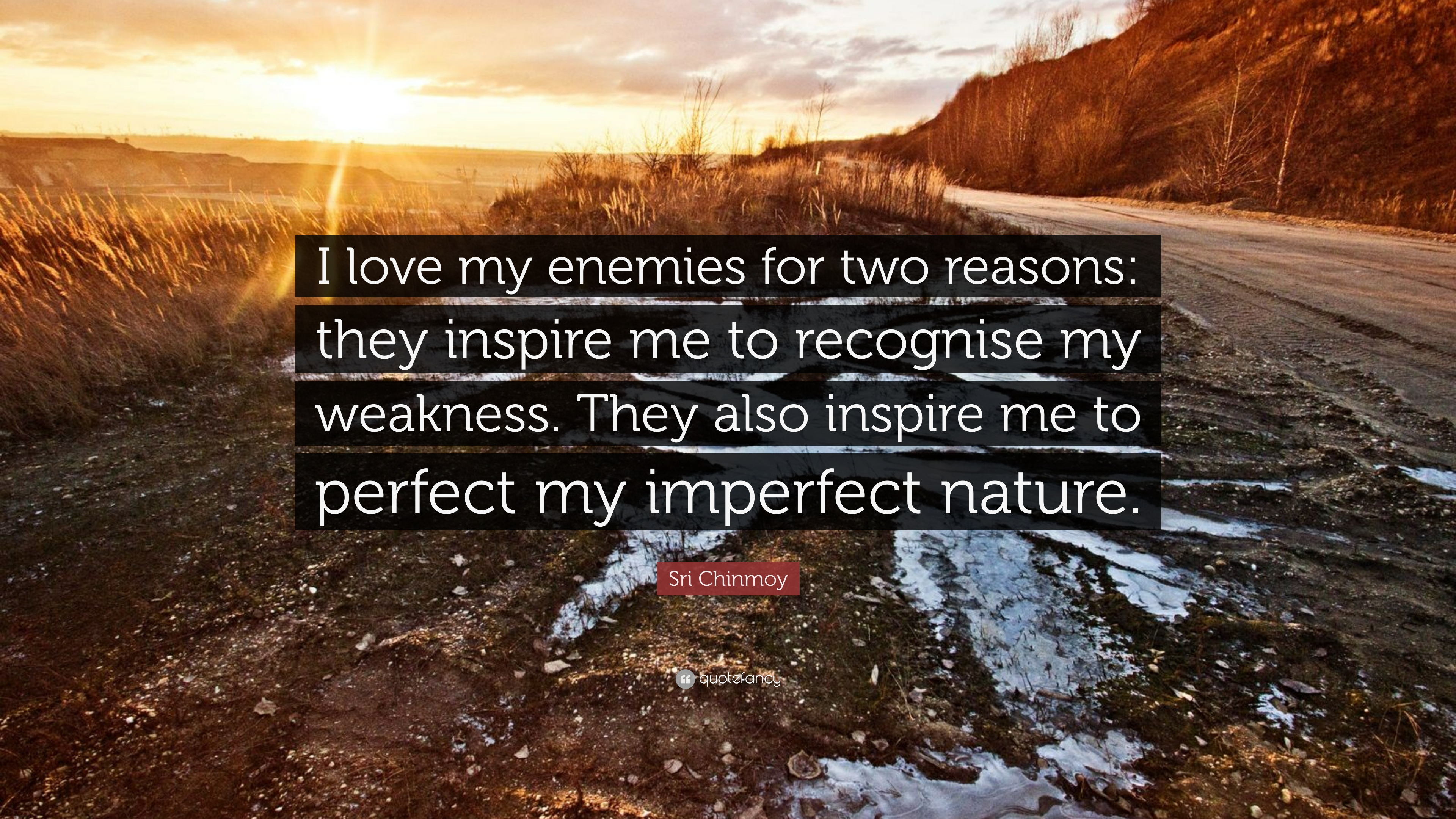 Sri Chinmoy Quote: U201cI Love My Enemies For Two Reasons: They Inspire Me
