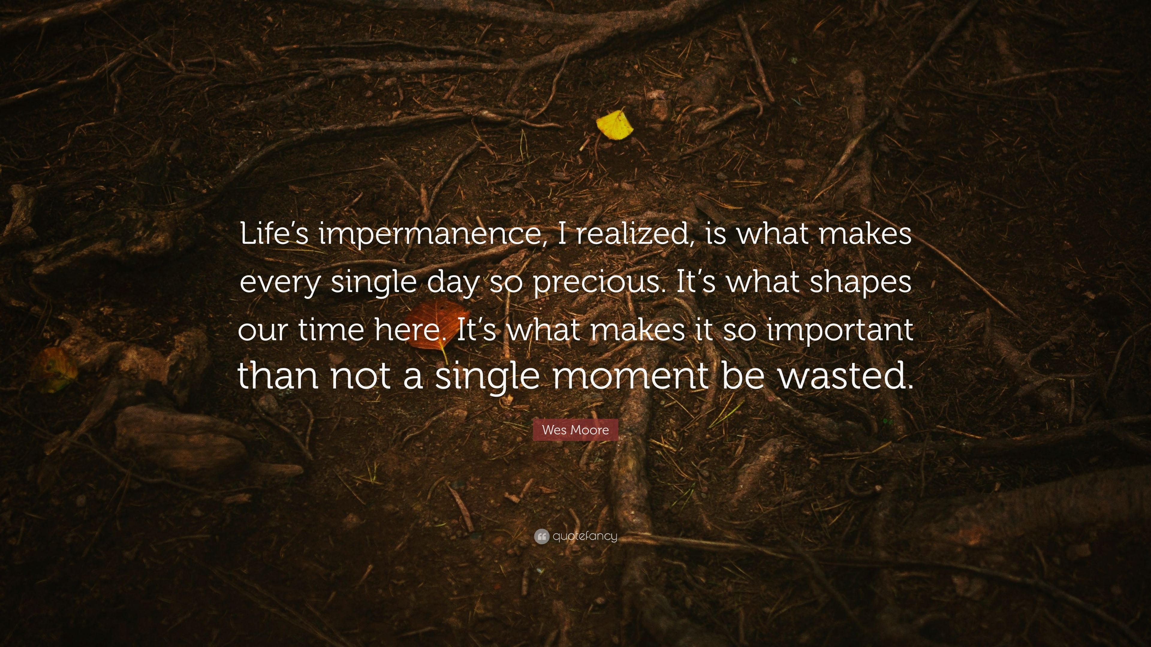 Wes Moore Quote Lifes Impermanence I Realized Is What Makes