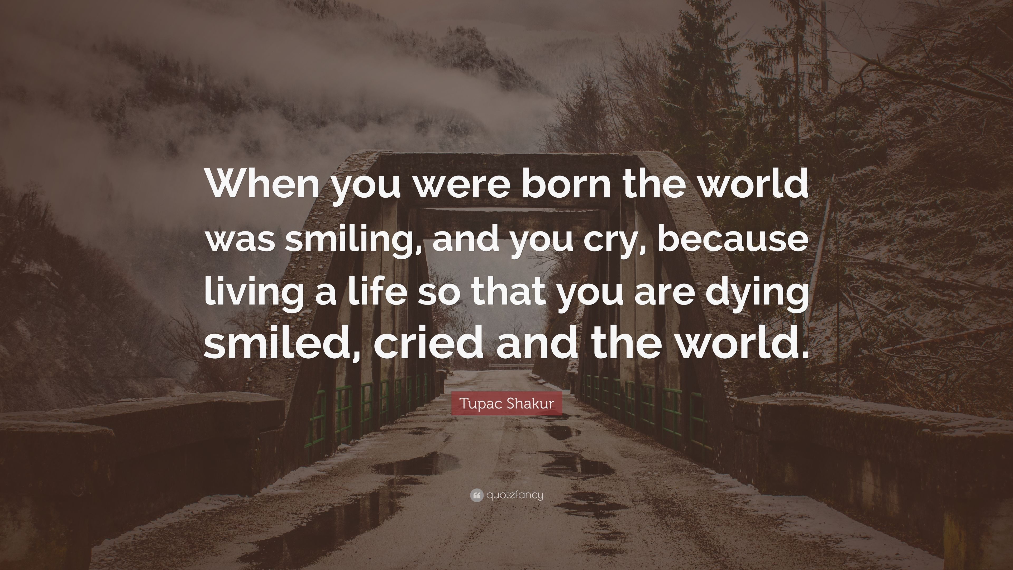 Tupac Shakur Quote When You Were Born The World Was Smiling And