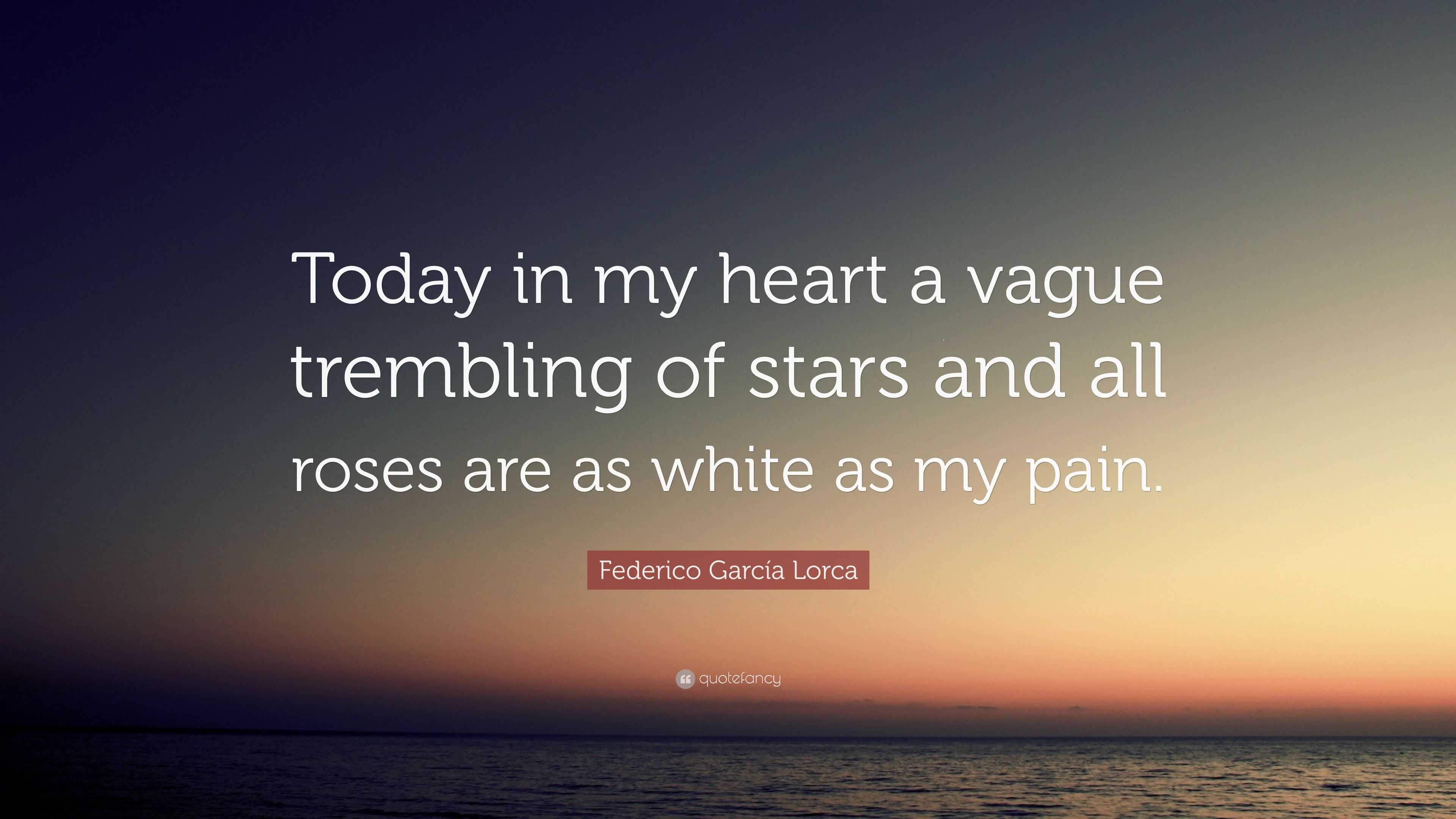 "Federico García Lorca Quote: ""Today In My Heart A Vague"