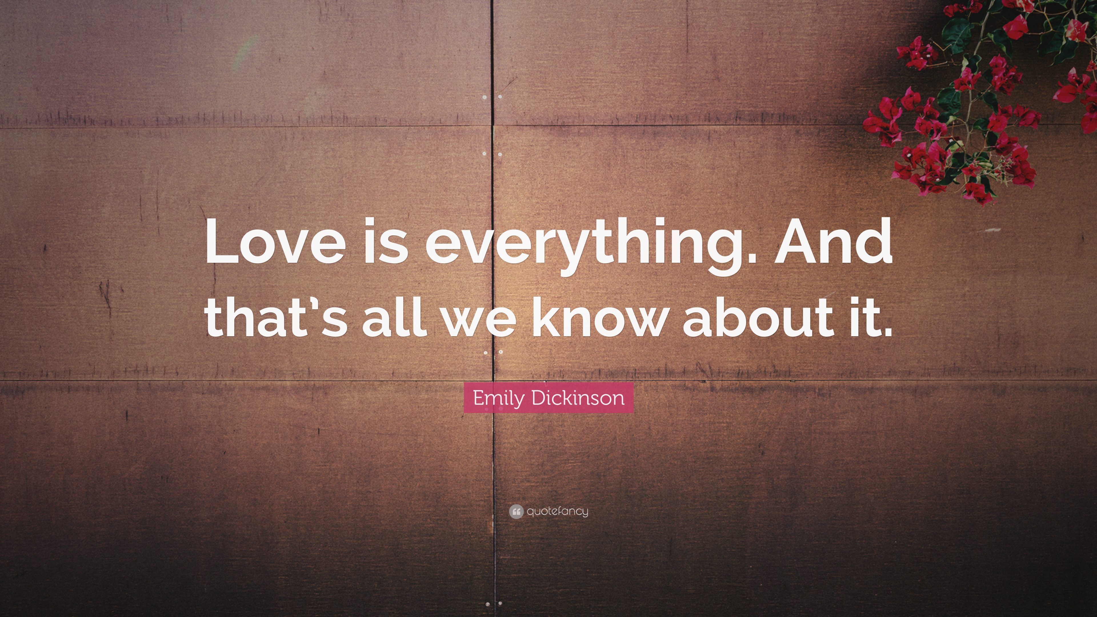 Emily Dickinson Quote Love Is Everything And Thats All We Know