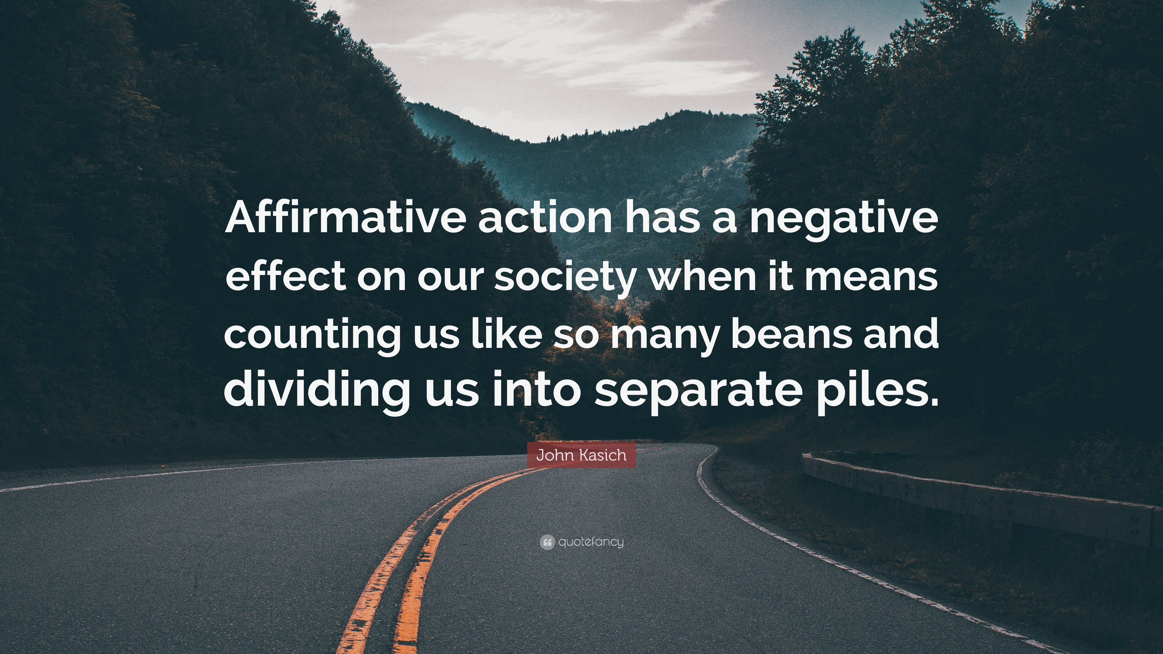 negative effects from affirmative action There is greater support for the principle of equal opportunity than for the principle of affirmative action very negative effects that affirmative action.
