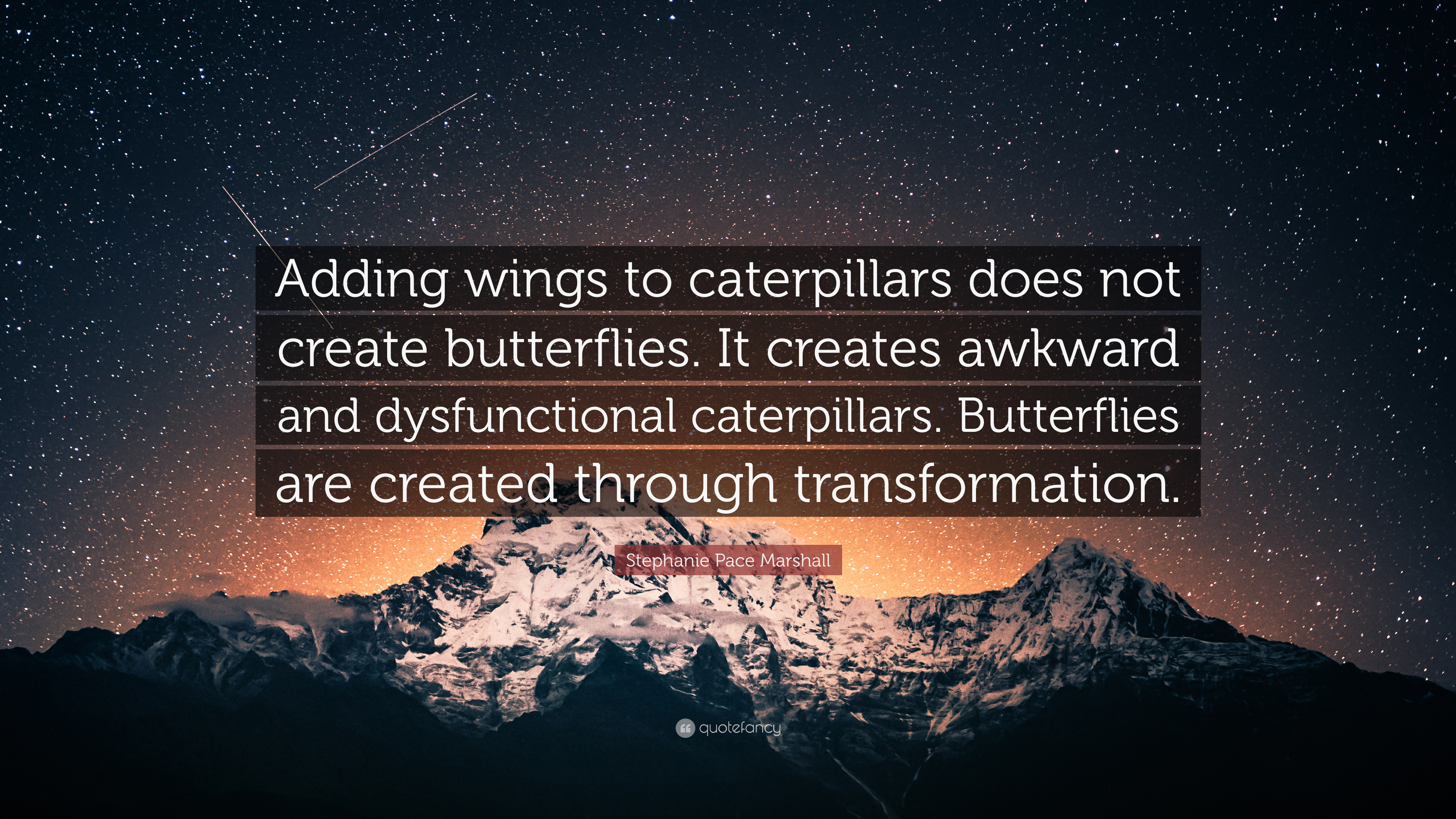 Stephanie Pace Marshall Quote Adding Wings To Caterpillars Does