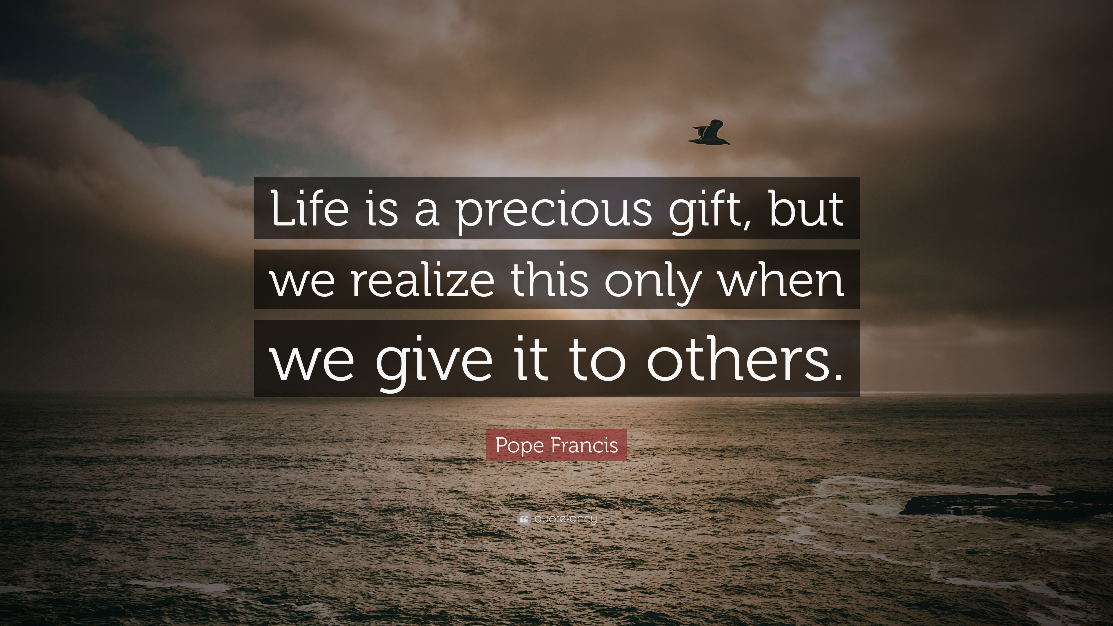 "Pope Francis Quote: ""Life is a precious gift, but we realize this ..."