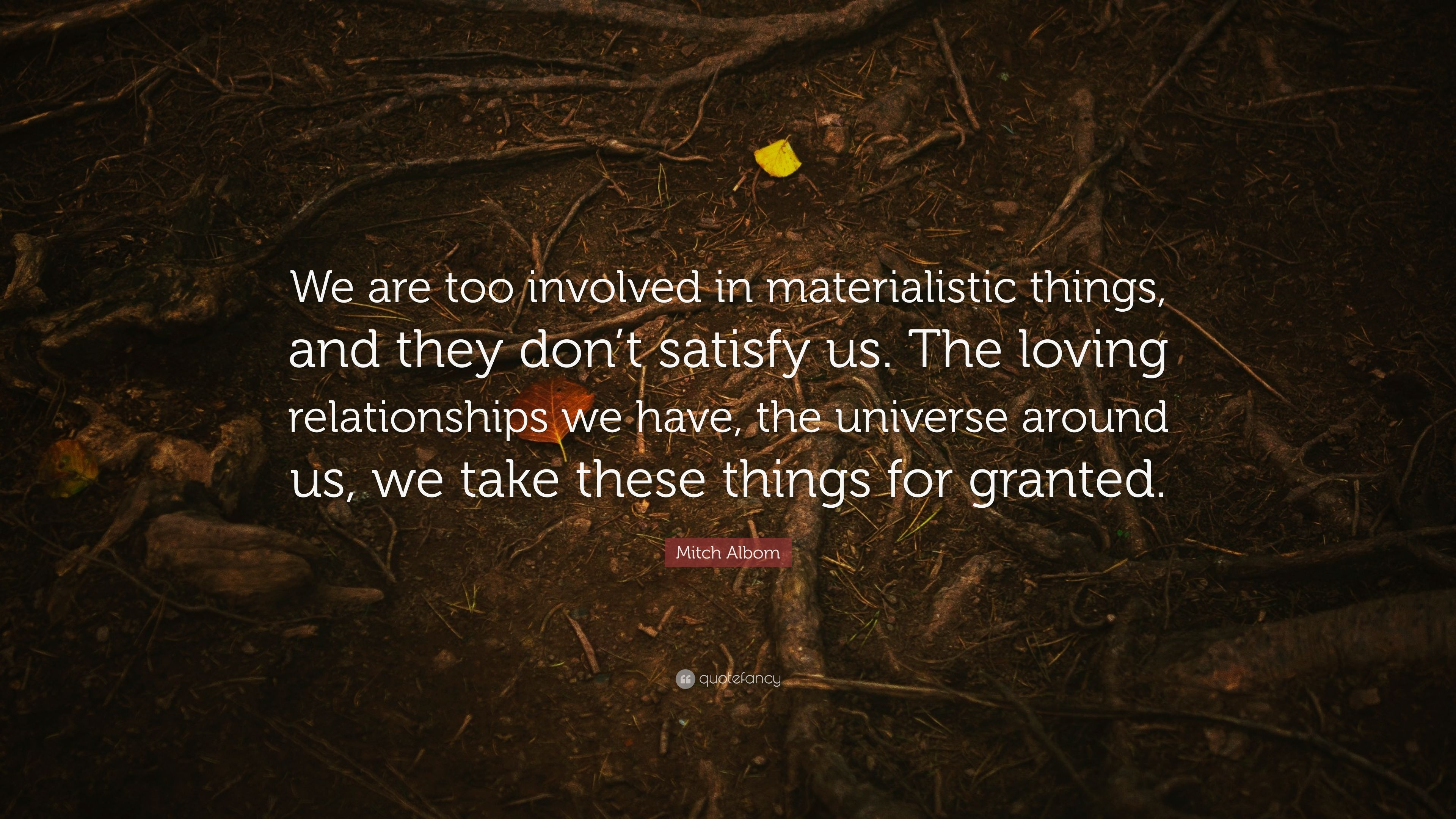 Mitch Albom Quote We Are Too Involved In Materialistic Things And