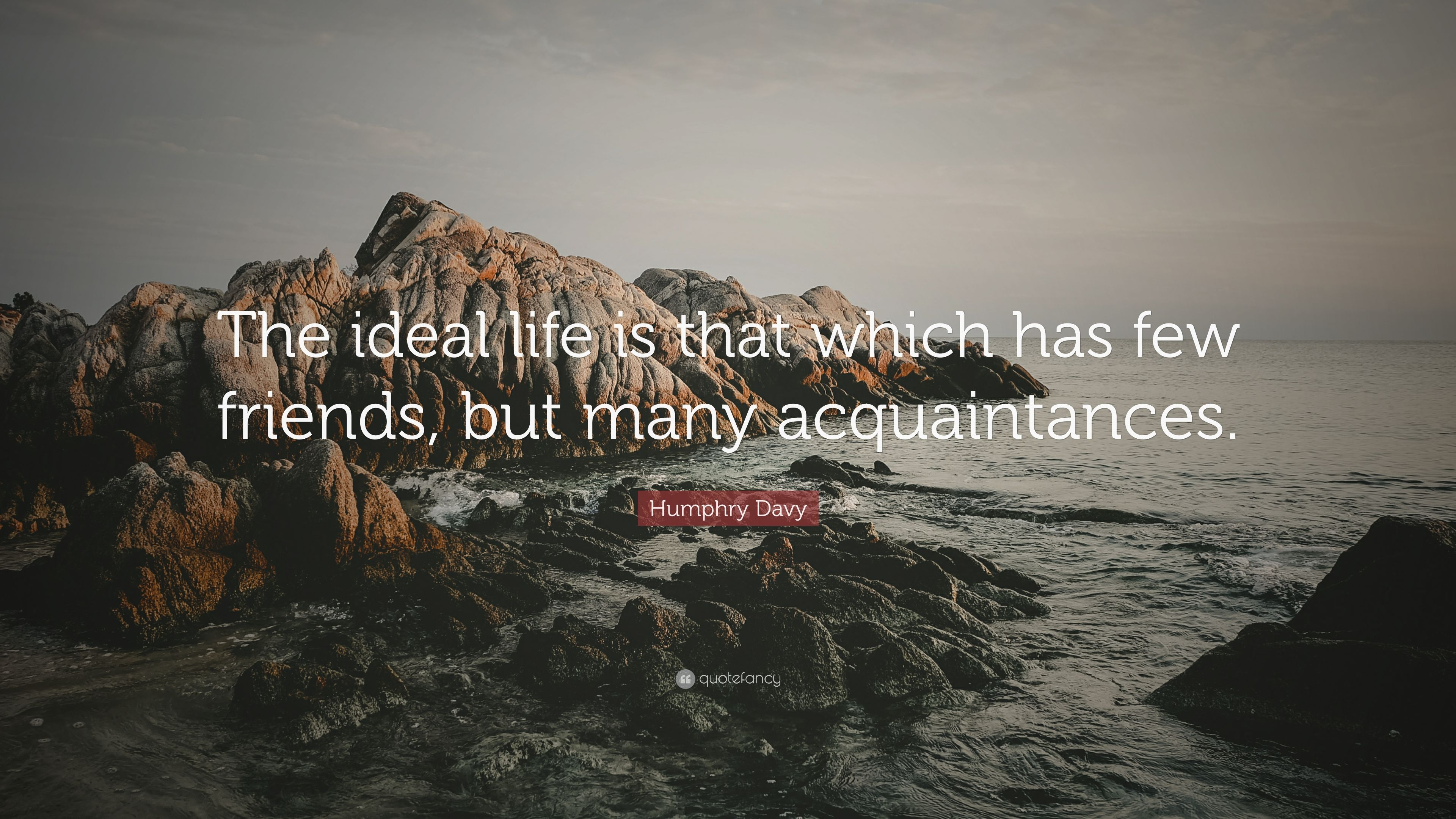 Humphry Davy Quote: U201cThe Ideal Life Is That Which Has Few Friends, But