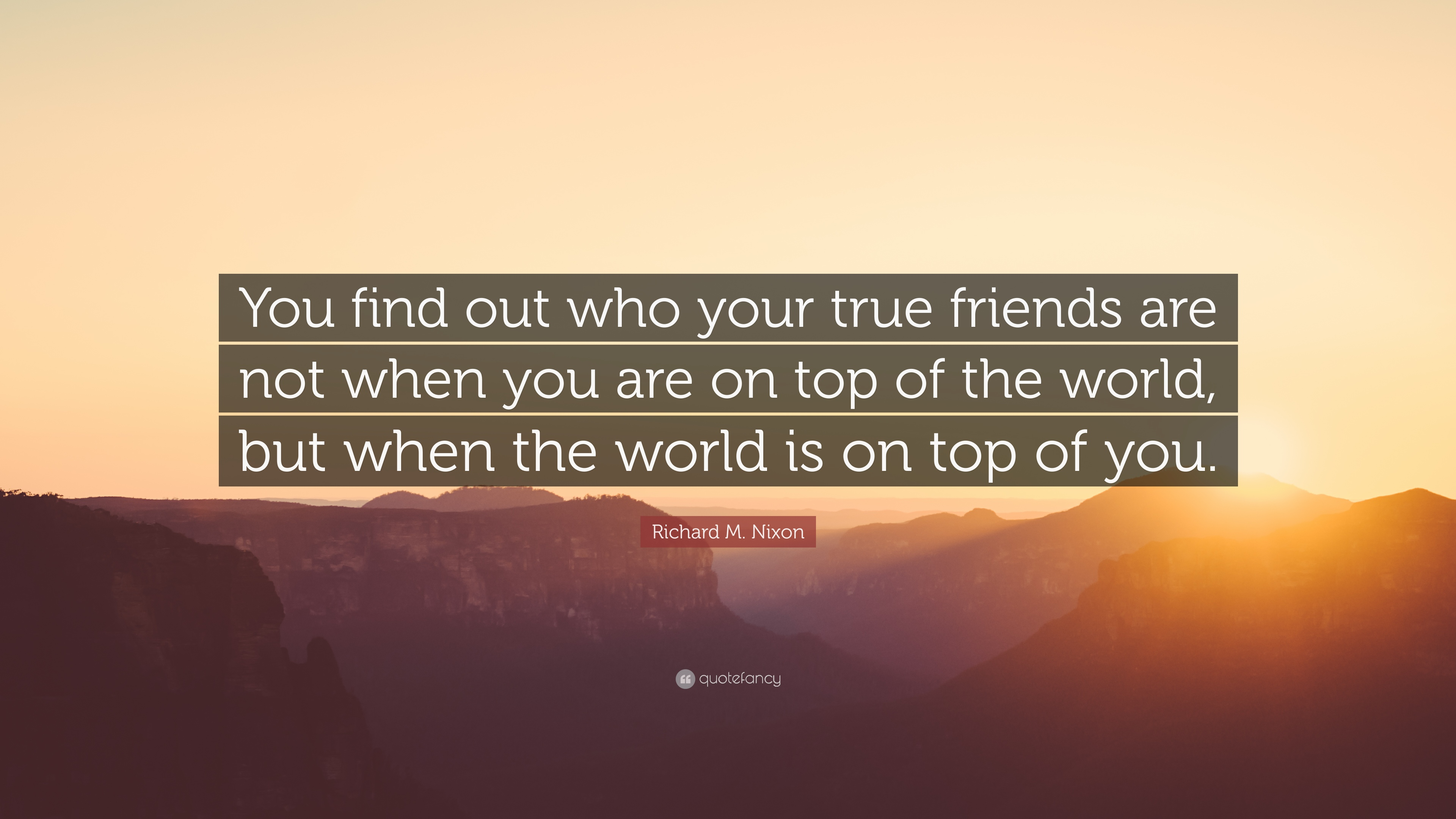 "Richard M. Nixon Quote: ""You find out who your true friends are"