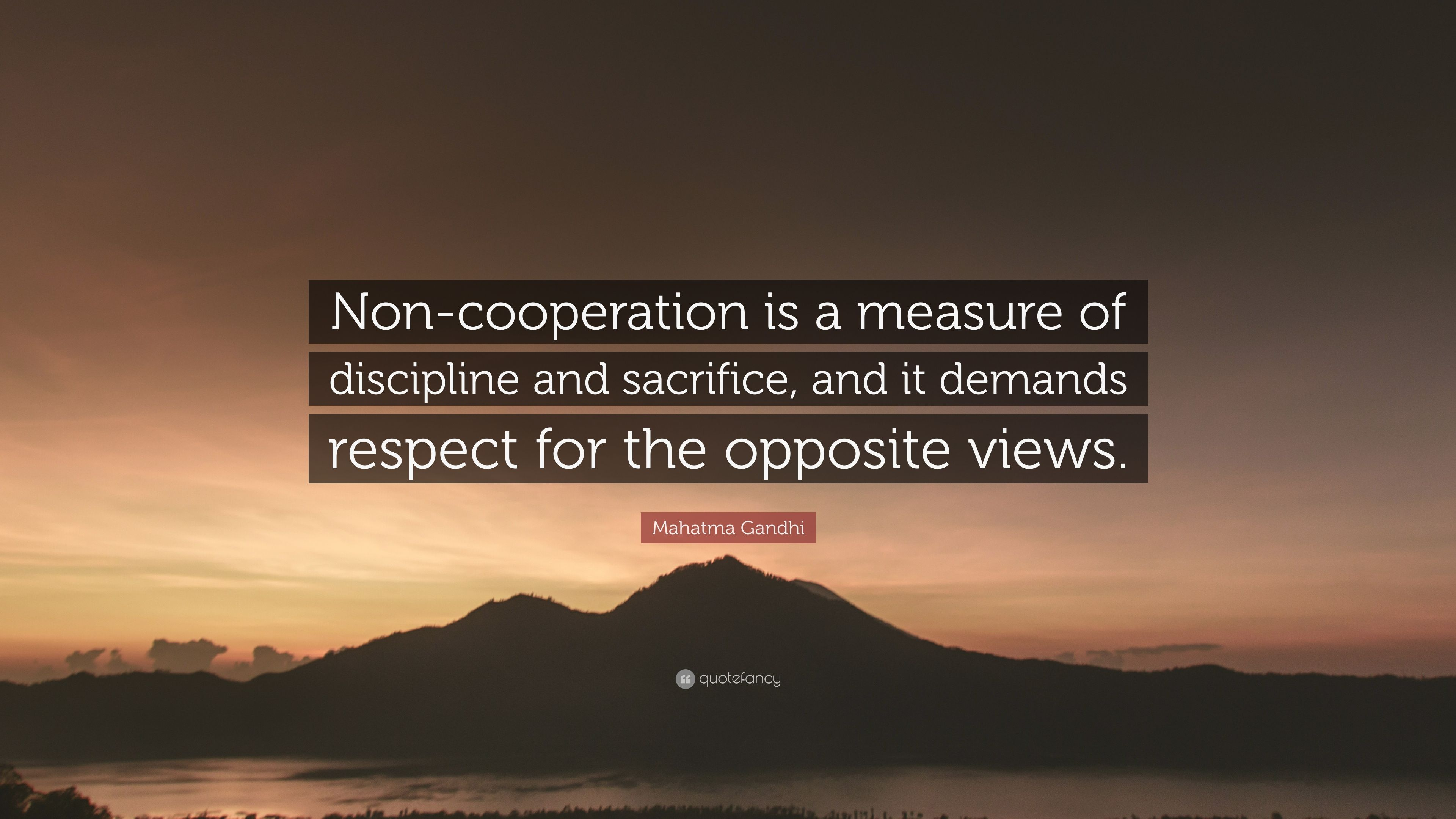 Mahatma Gandhi Quote Non Cooperation Is A Measure Of Discipline