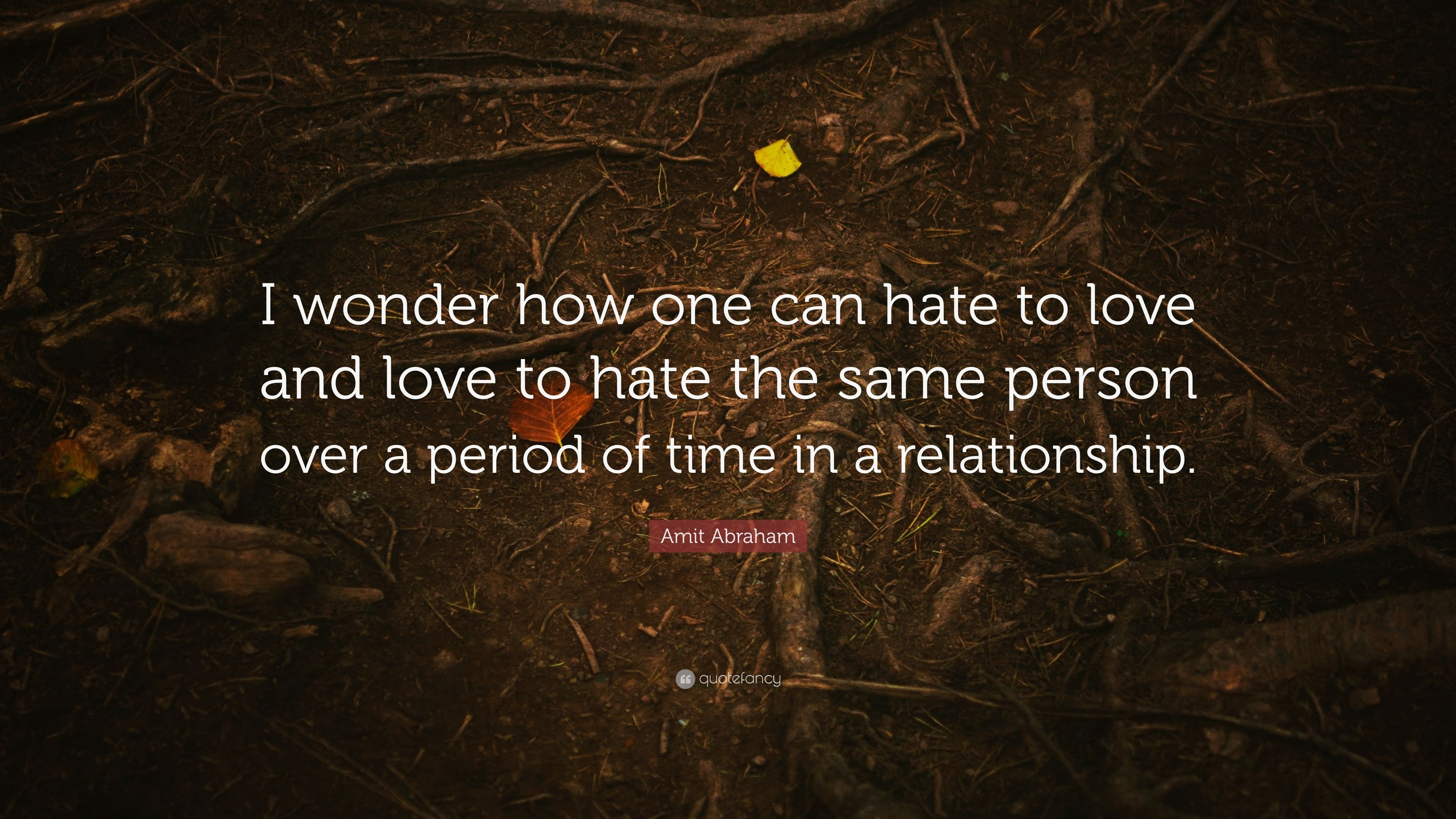 Amit Abraham Quote I Wonder How One Can Hate To Love And Love To