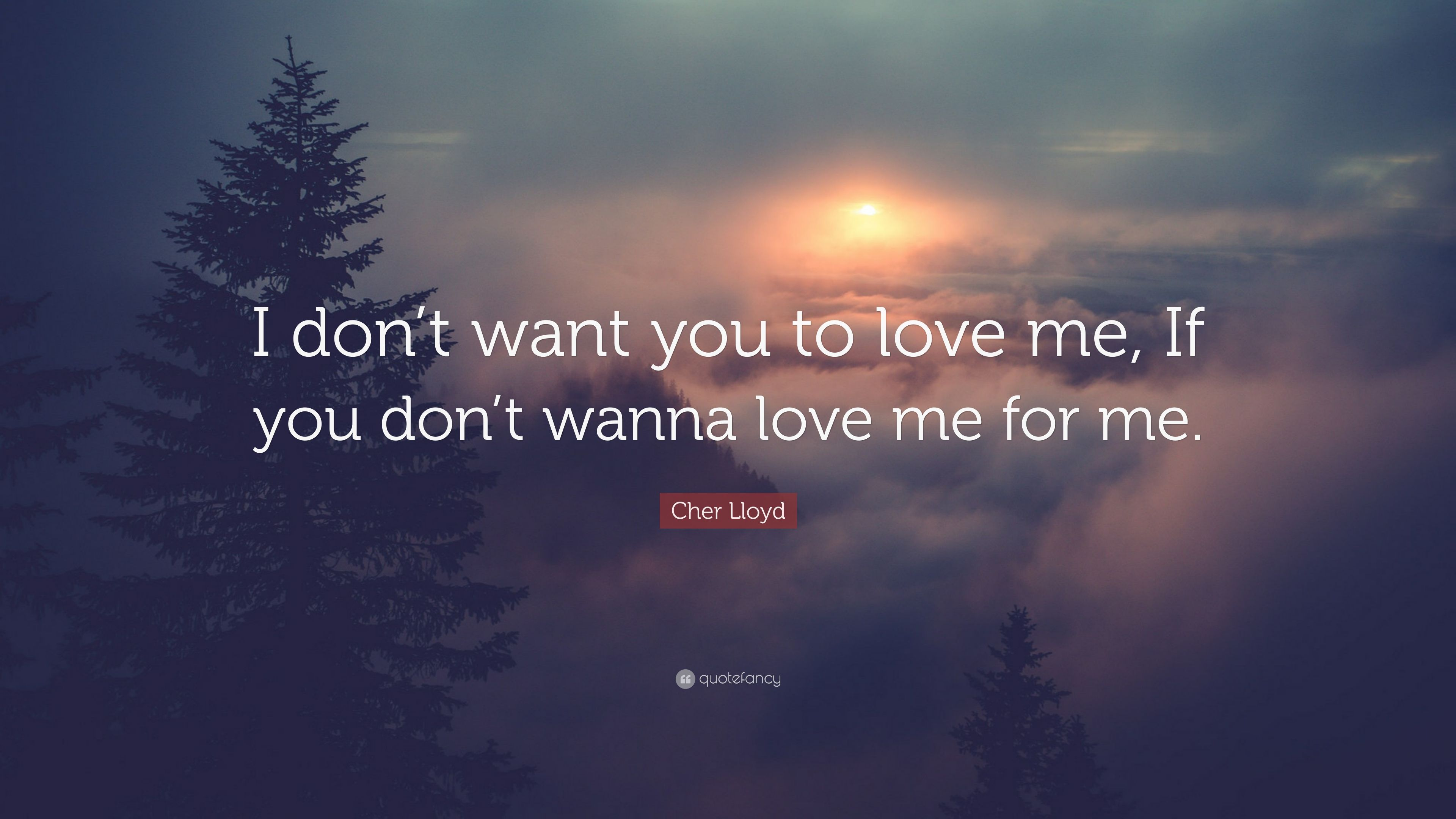 """modernes Design neue Kollektion ungleich in der Leistung Cher Lloyd Quote: """"I don't want you to love me, If you don't ..."""