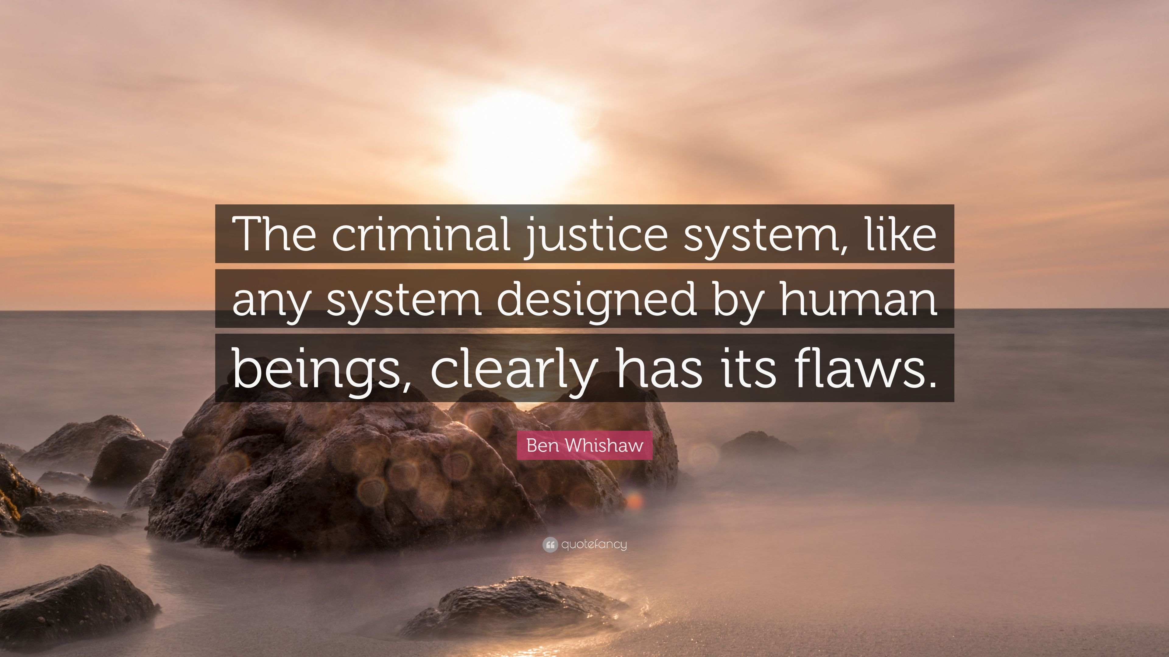 "Ben Whishaw Quote: ""The Criminal Justice System, Like Any"