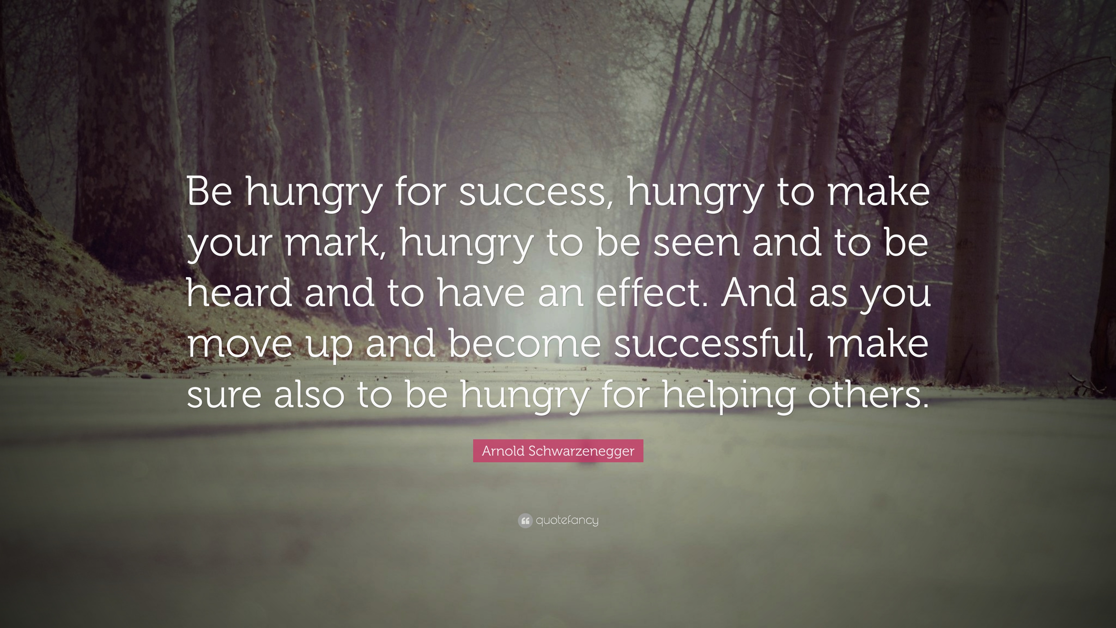 Arnold Schwarzenegger Quote Be Hungry For Success Hungry To Make