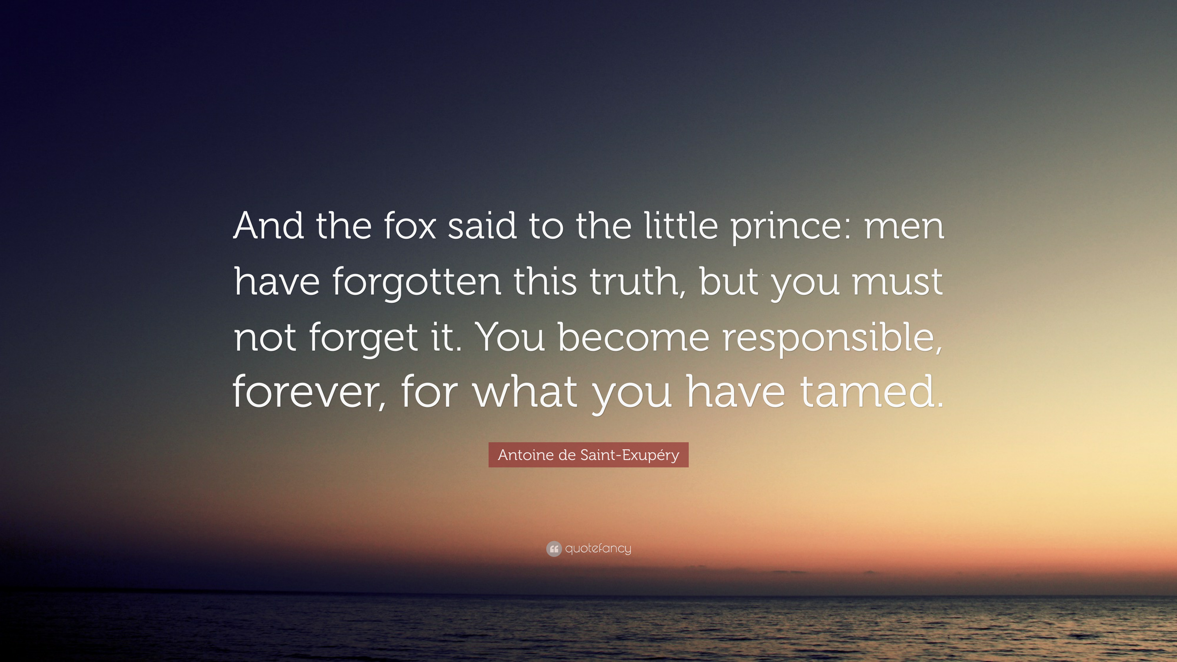 Antoine De Saint Exupery Quote And The Fox Said To The Little Prince Men Have Forgotten This Truth But You Must Not Forget It You Become Responsible 7 Wallpapers Quotefancy