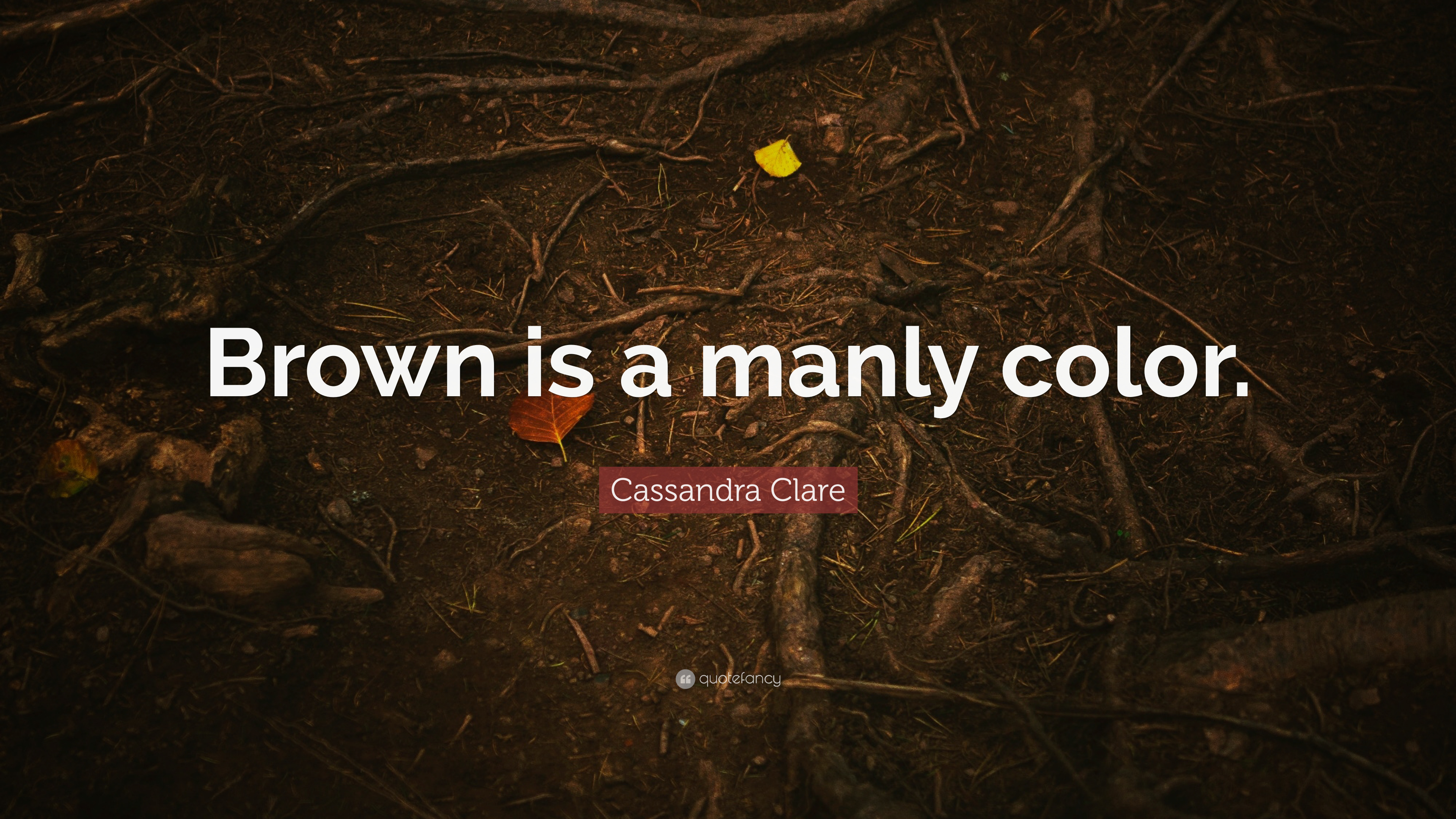 "Cassandra Clare Quote: ""Brown is a"