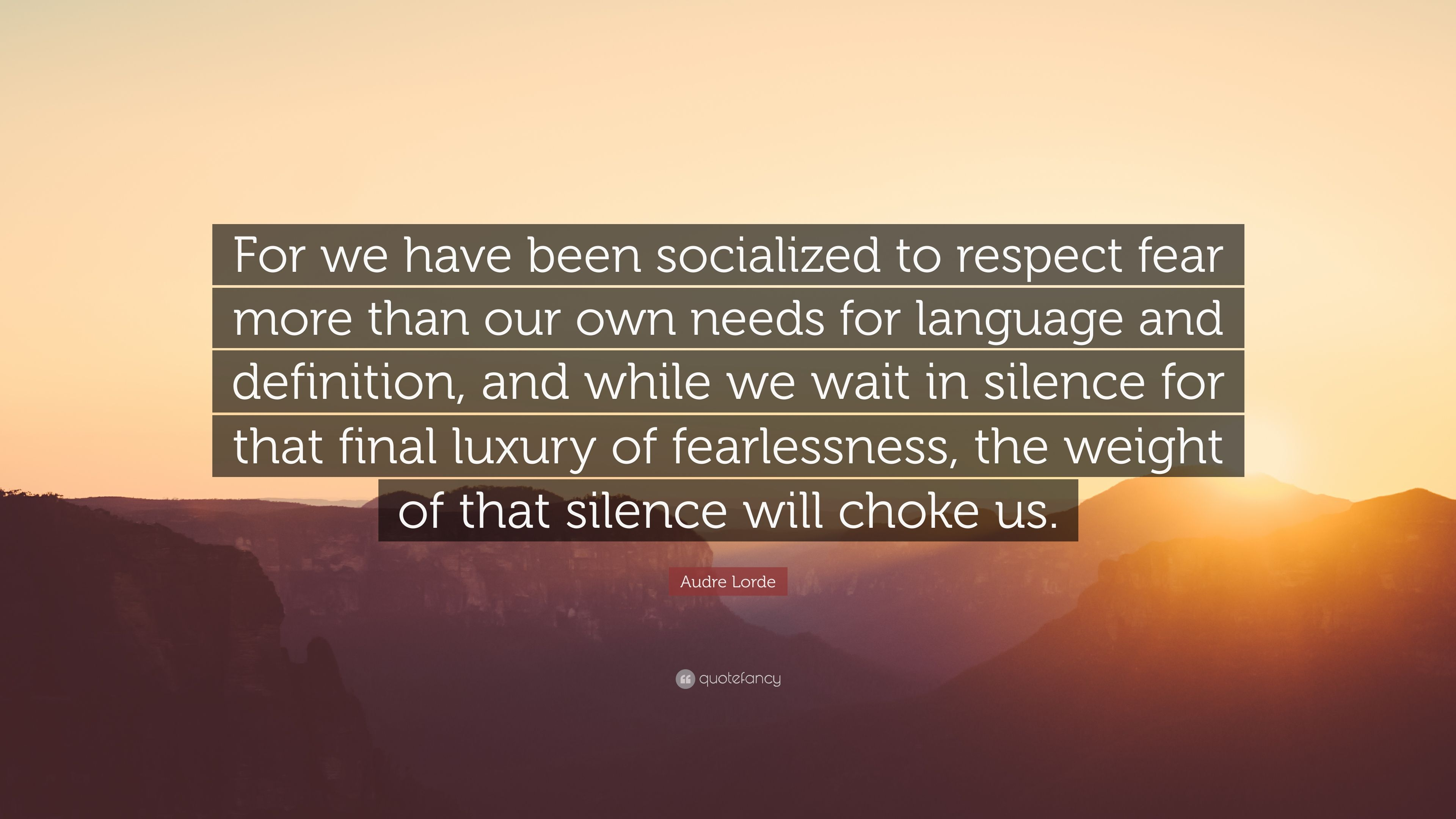 audre lorde quote for we have been socialized to respect fear more