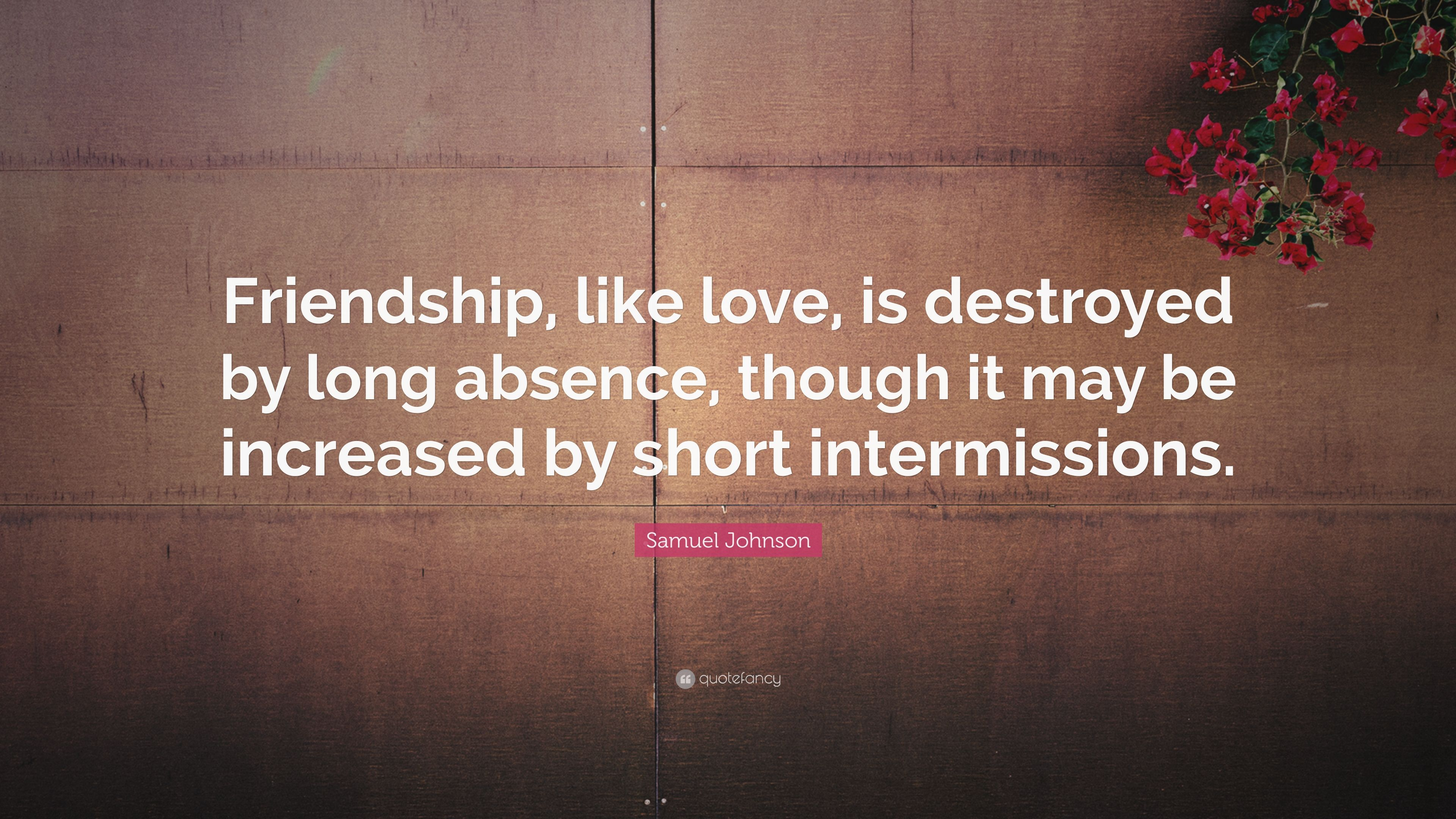 """Short Quote About Friendship Samuel Johnson Quote """"Friendship Like Love Is Destroyedlong"""