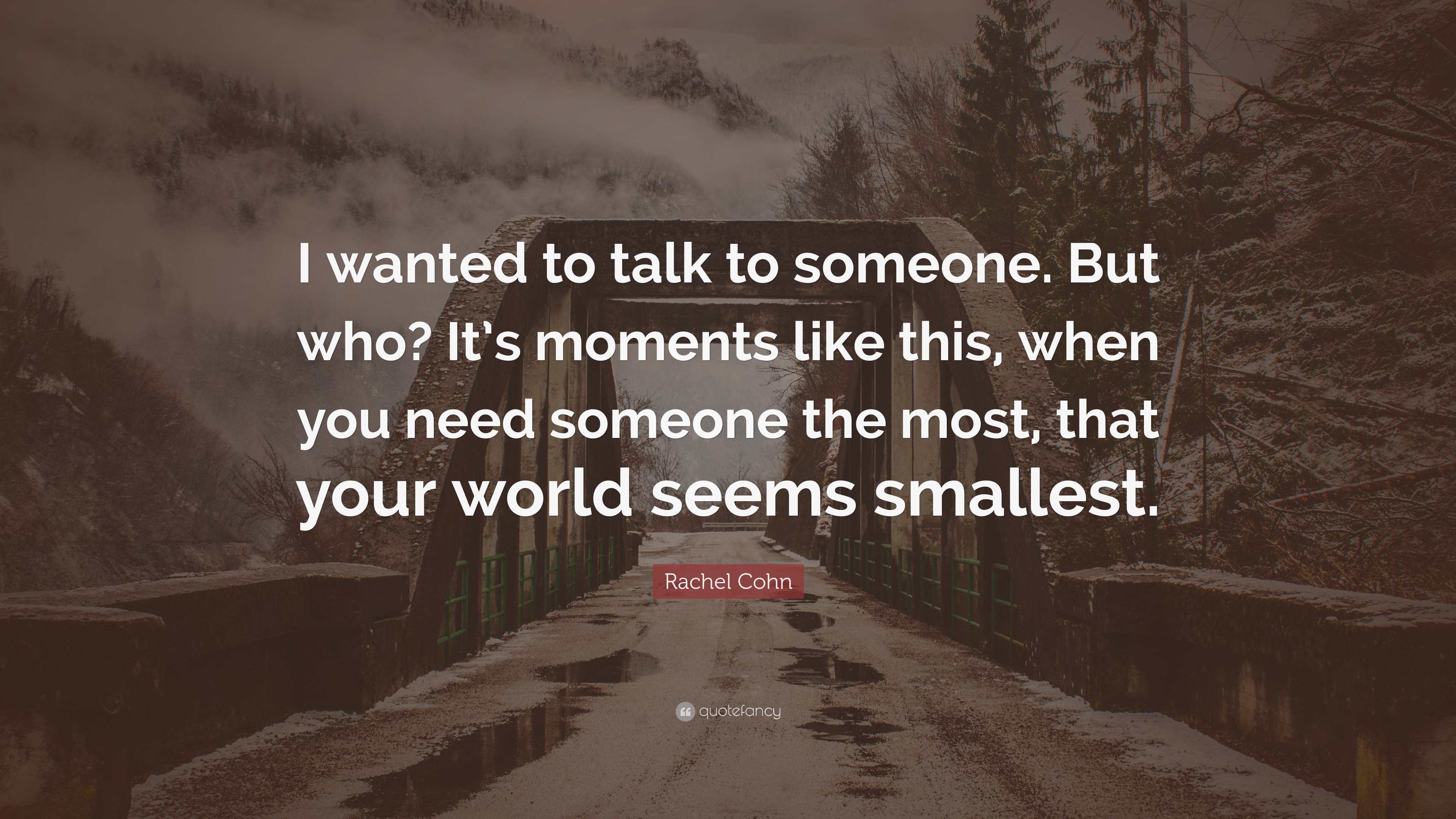 Rachel Cohn Quote I Wanted To Talk To Someone But Who Its