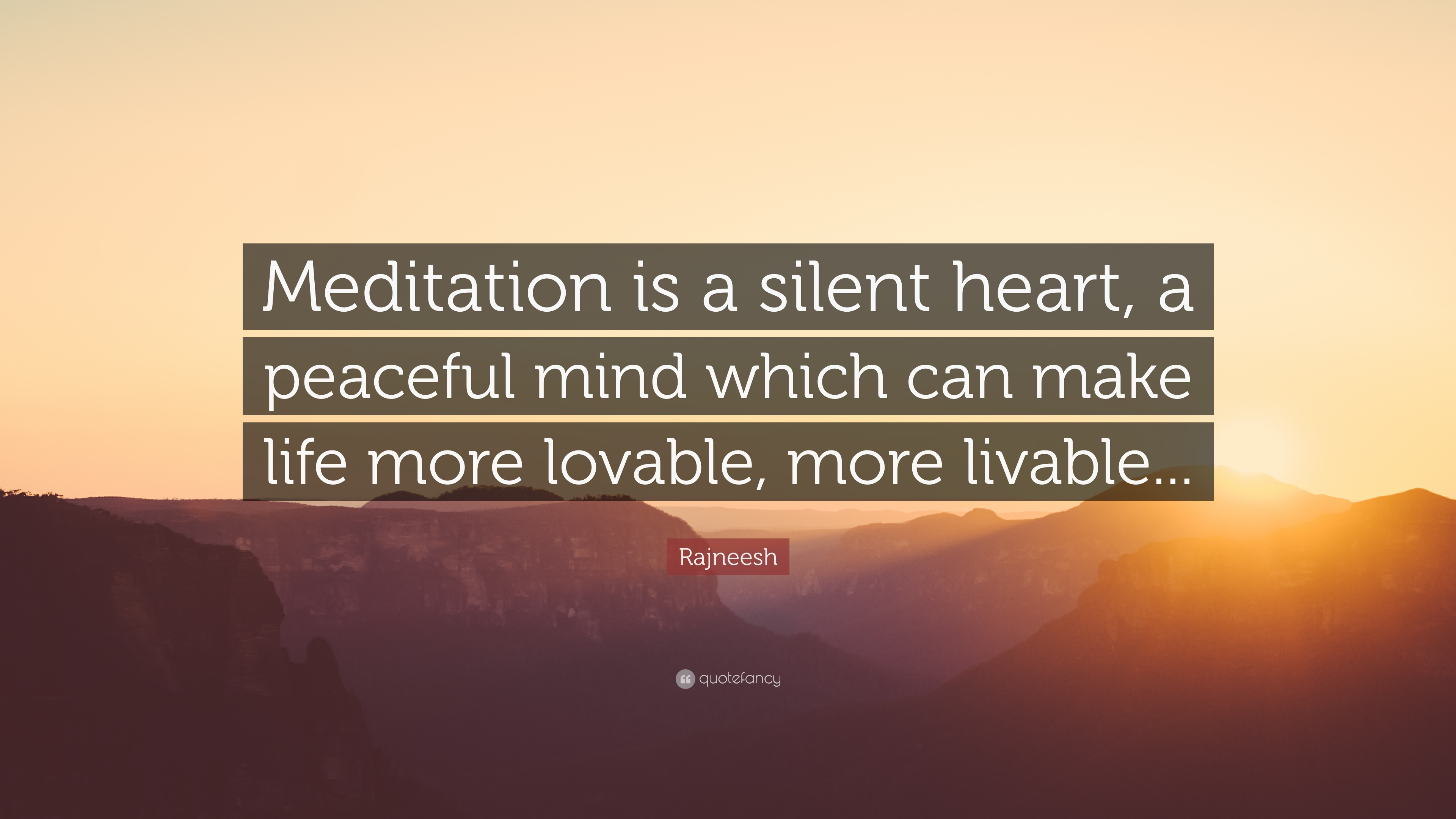 Rajneesh Quote: U201cMeditation Is A Silent Heart, A Peaceful Mind Which Can  Make