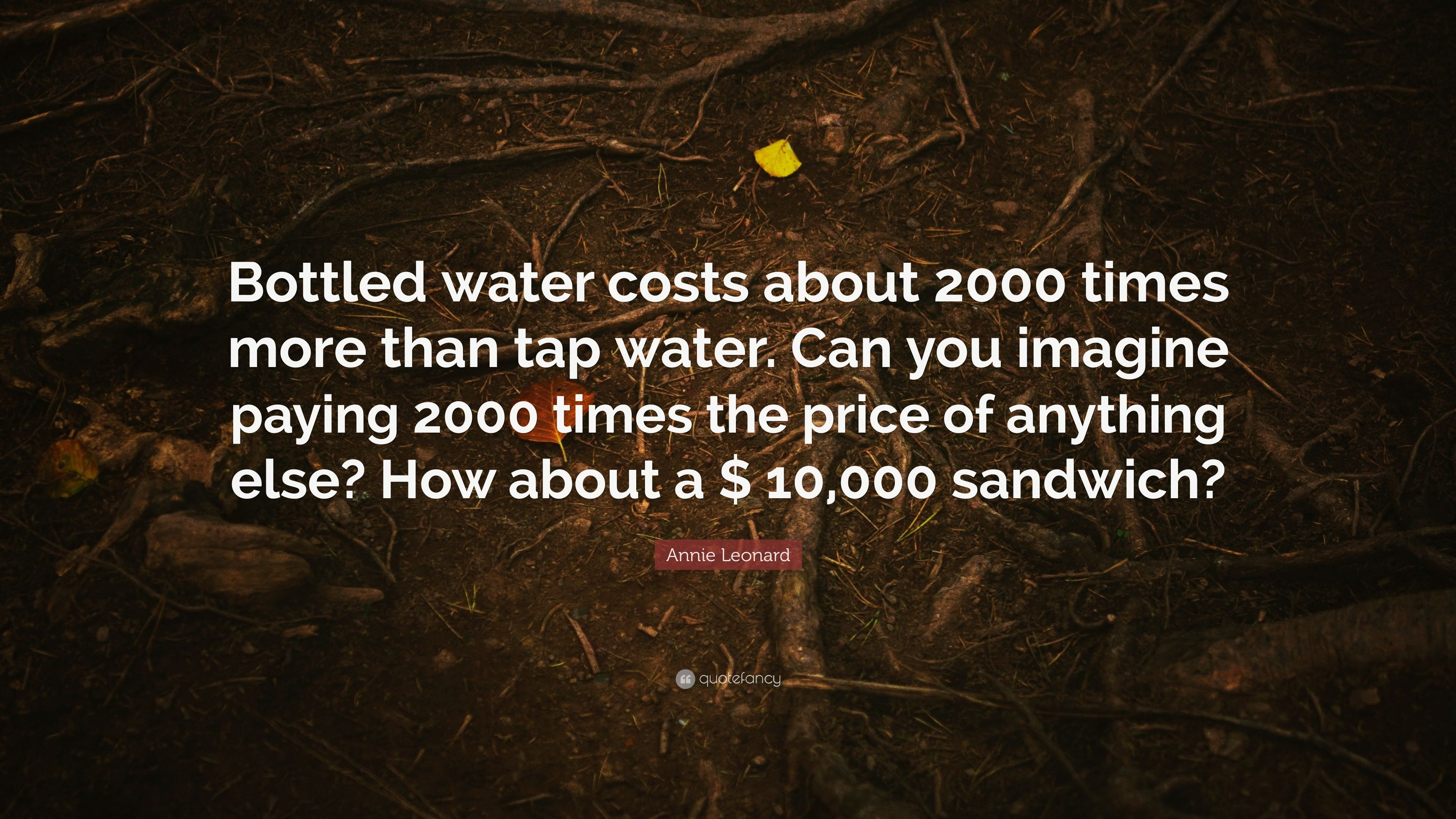 """Annie Leonard Quote: """"Bottled water costs about 2000 times more than"""