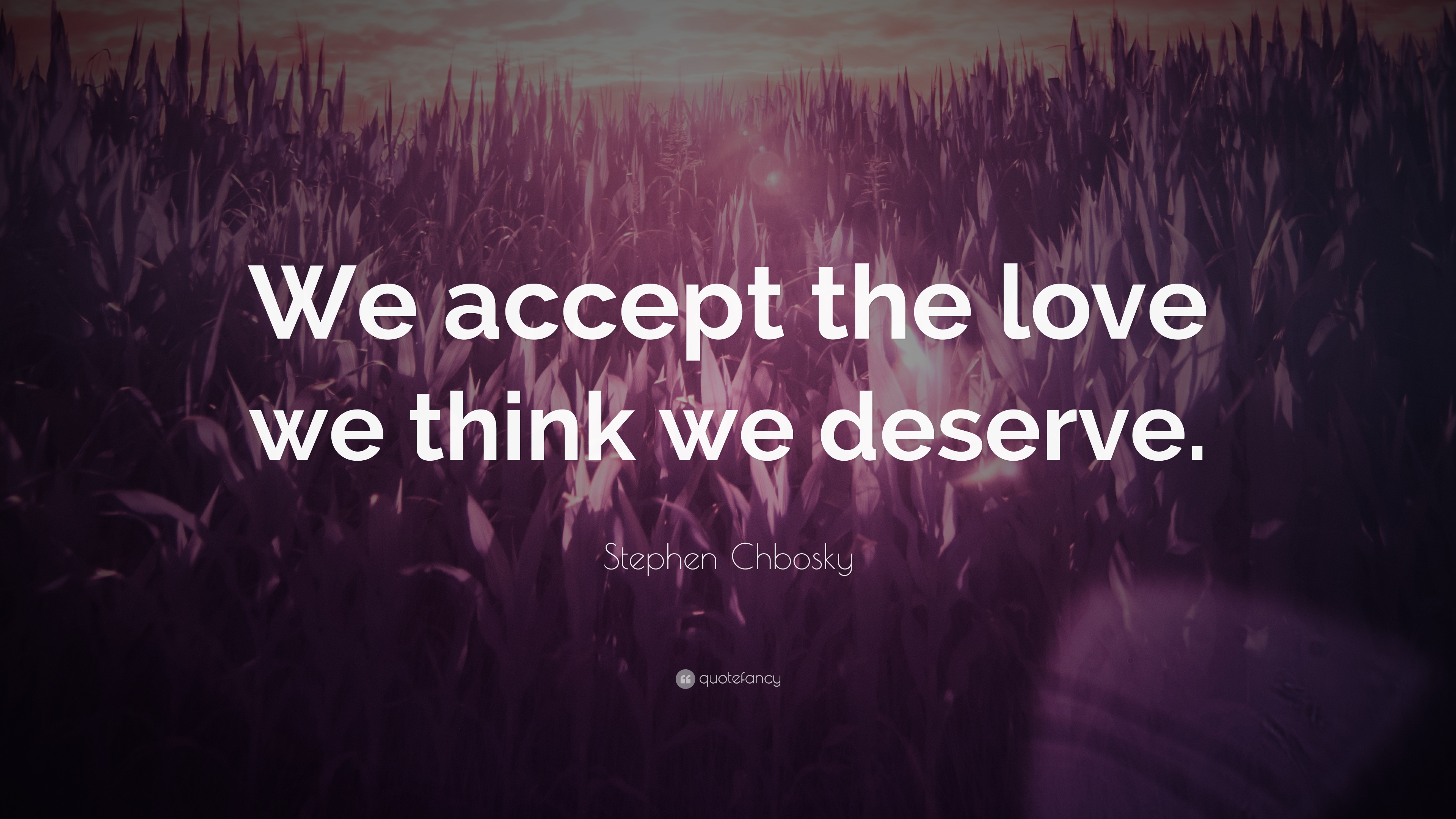 Stephen chbosky quote we accept the love we think we for Love the love