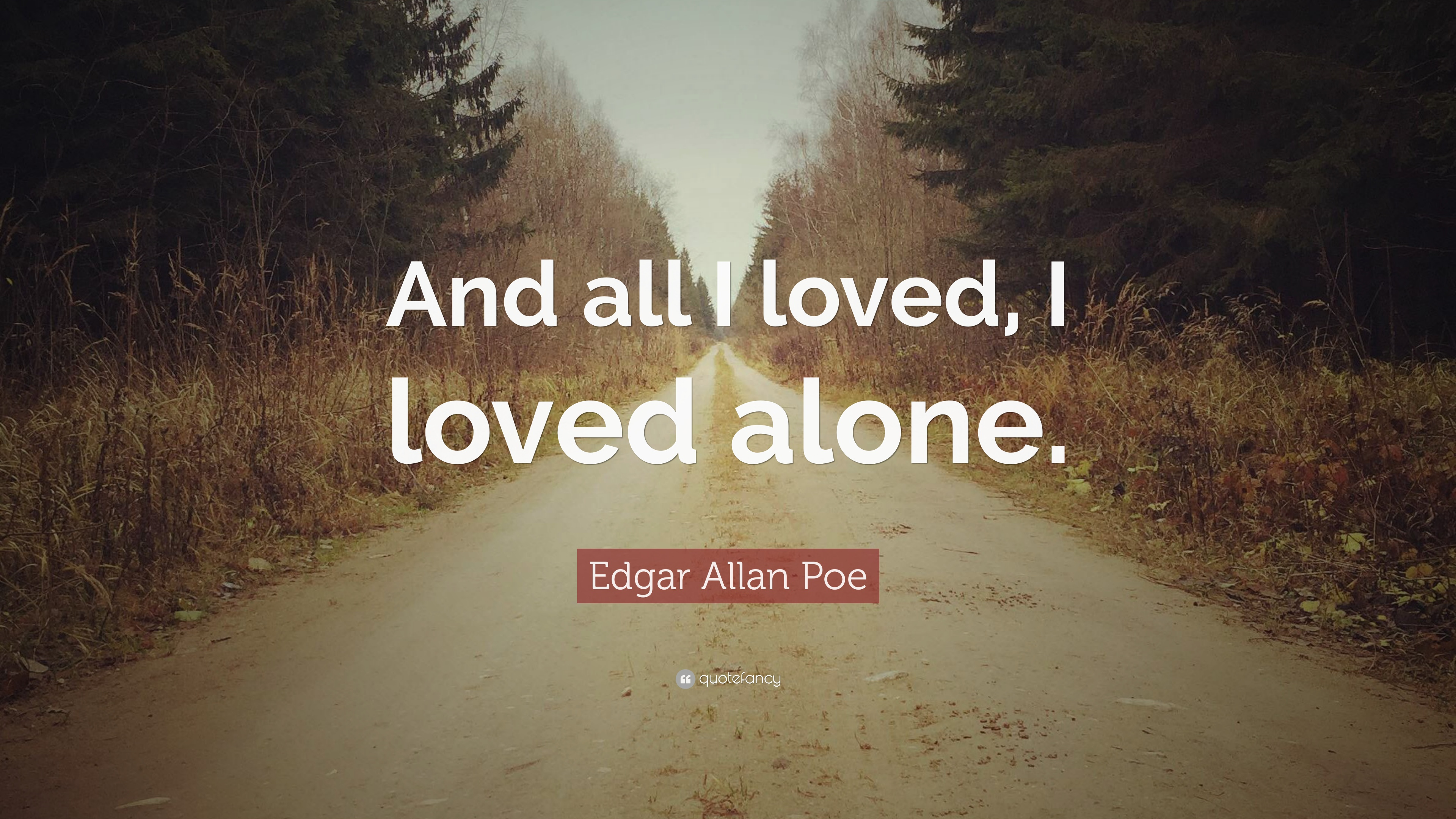 "Edgar Allan Poe Love Quotes Edgar Allan Poe Quote ""And All I Loved I Loved Alone."" 20"