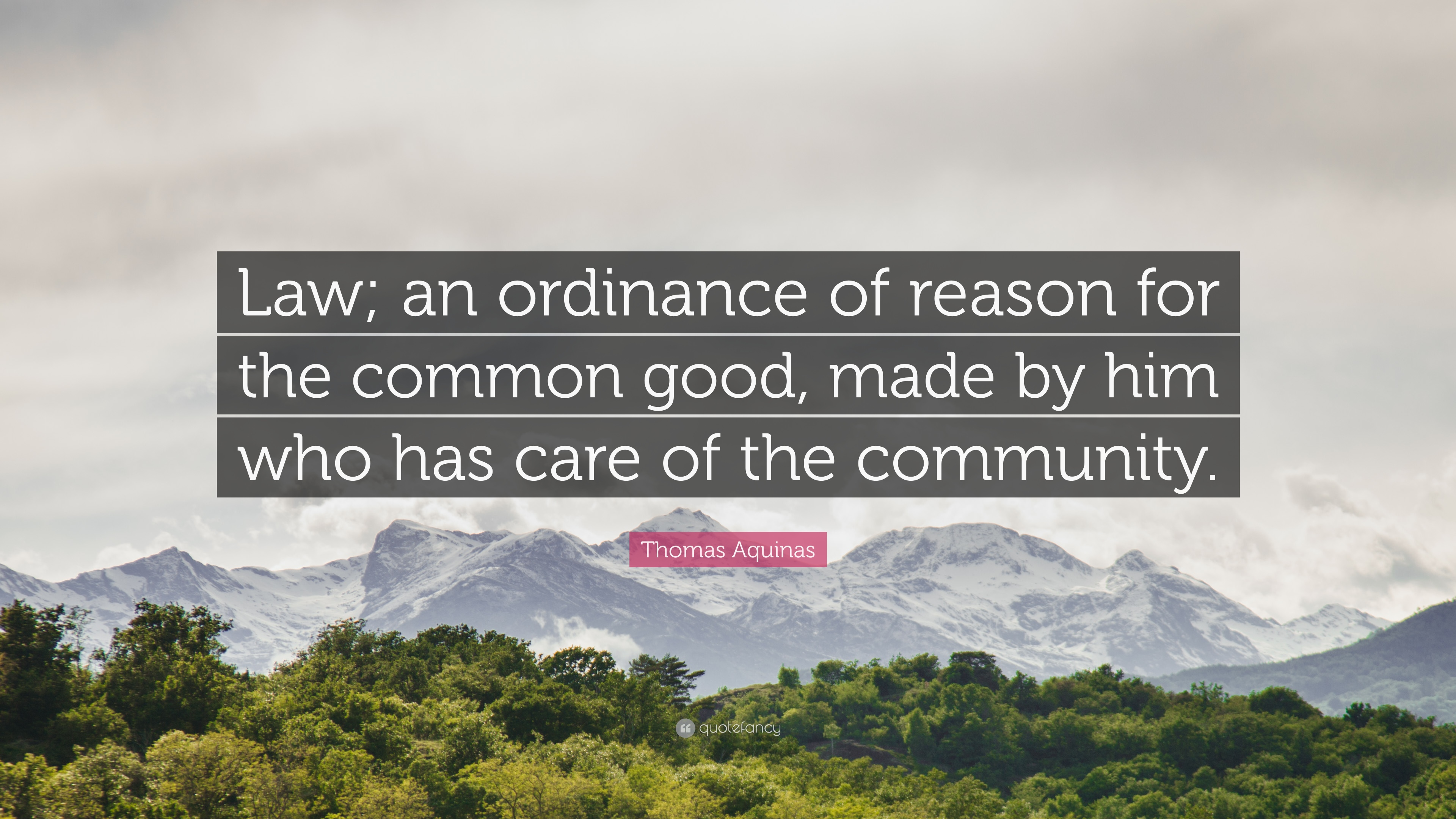 """Thomas Aquinas Quote: """"Law; an ordinance of reason for the ..."""