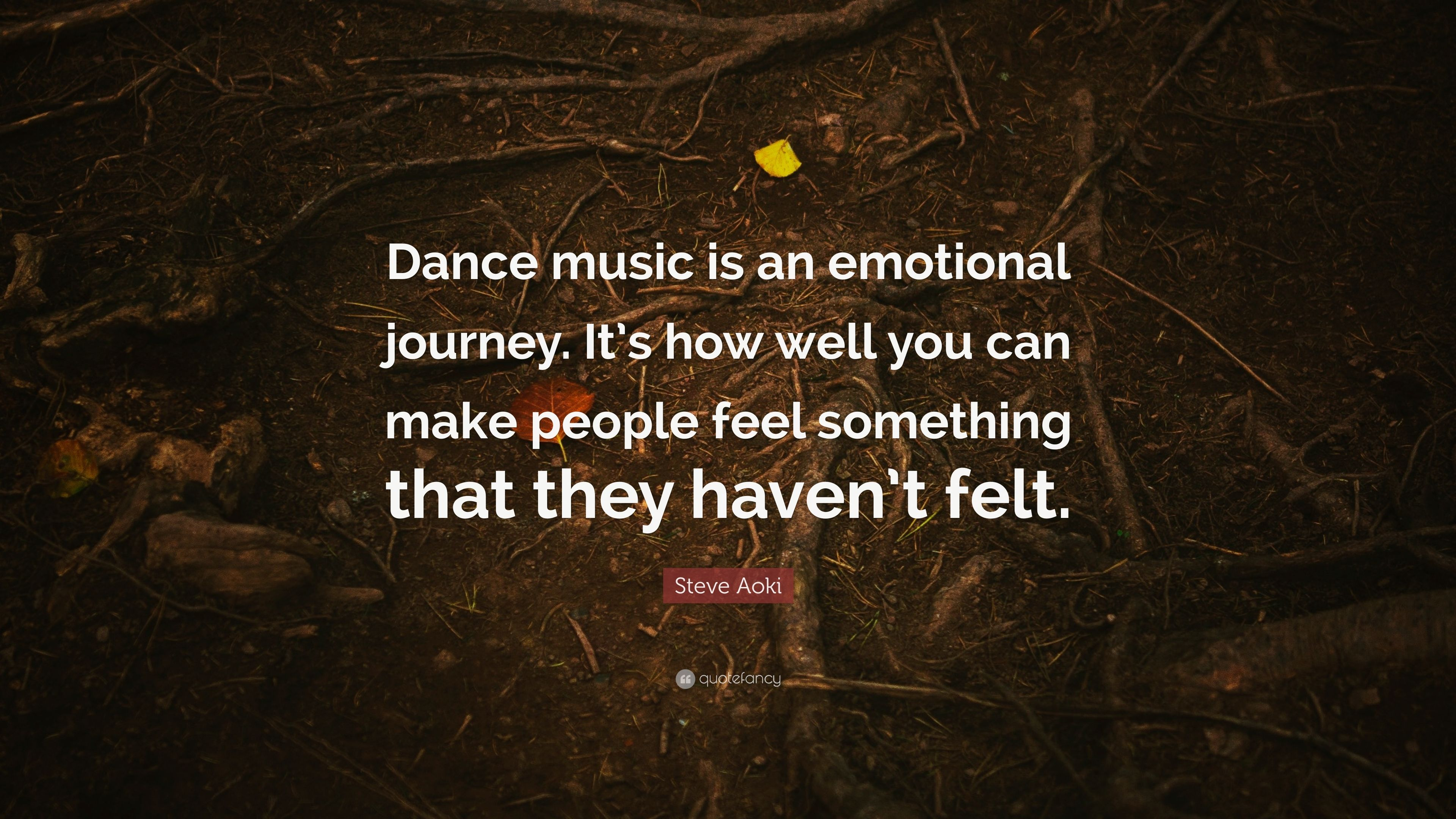 "Steve Aoki Quote: ""Dance music is an emotional journey  It's"