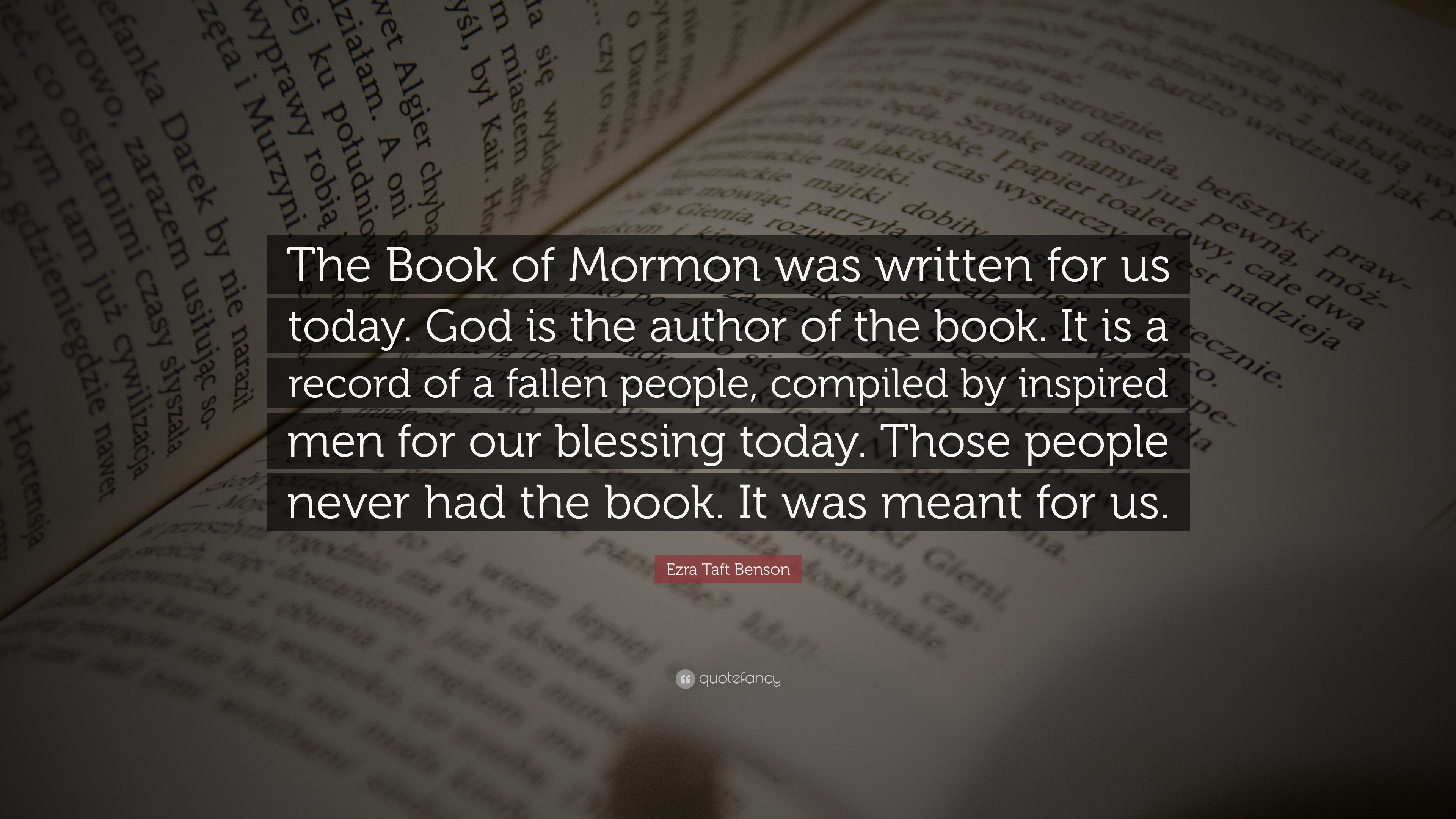 "Book Of Mormon Quotes Ezra Taft Benson Quote ""The Book Of Mormon Was Written For Us"