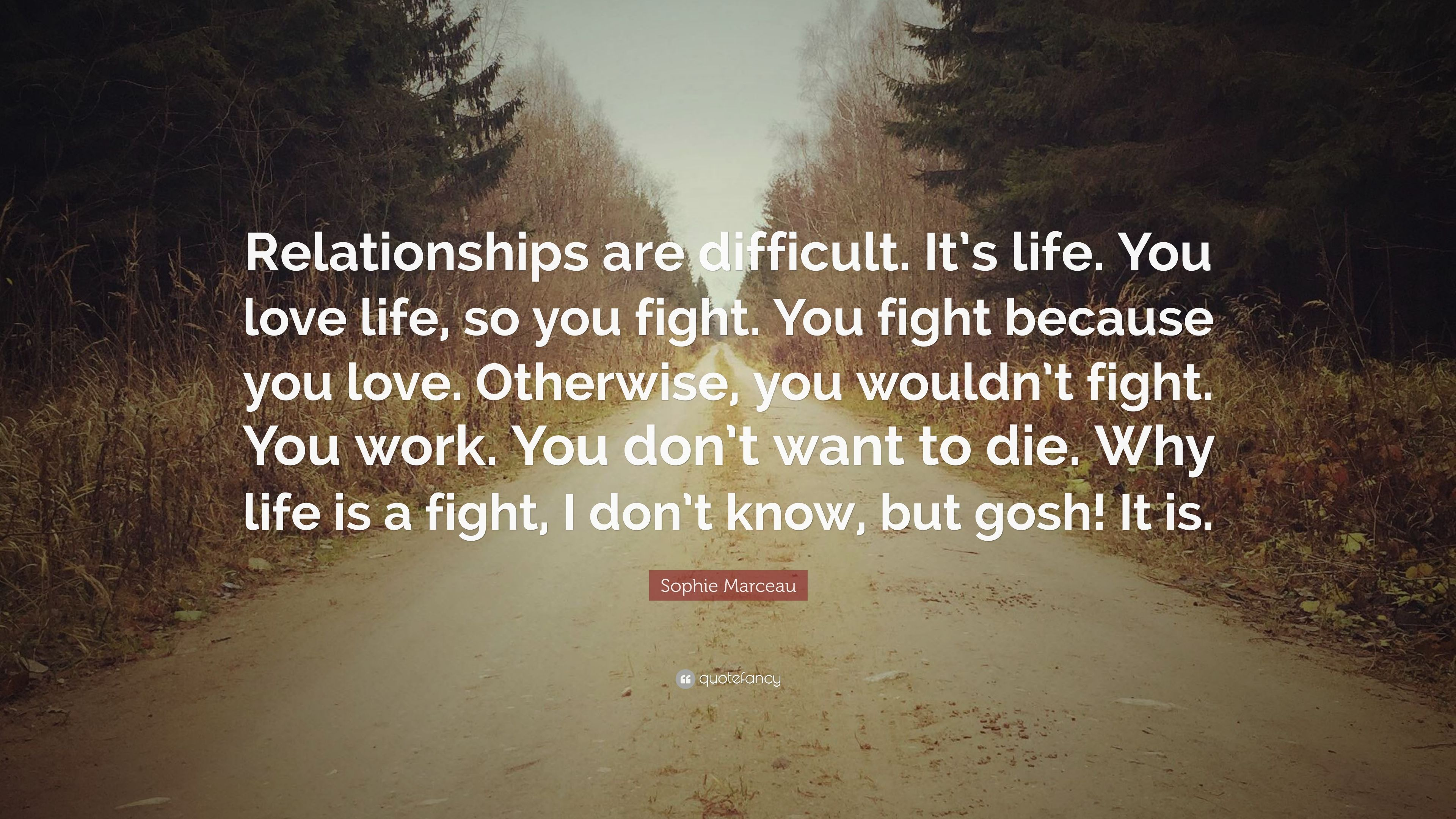 """Fight For What You Love Quotes Sophie Marceau Quote """"Relationships Are Difficultit's Lifeyou"""