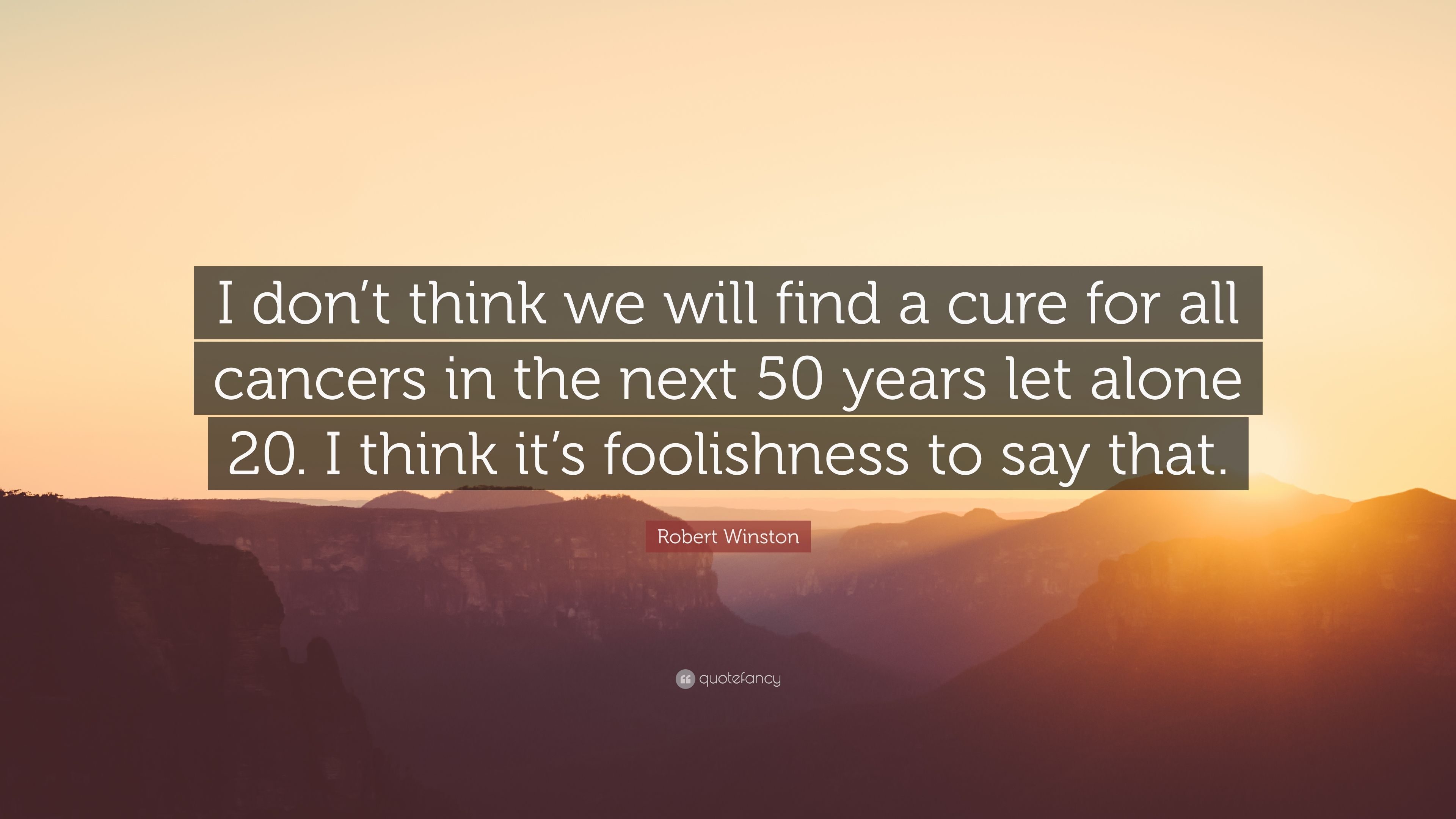 """Robert Winston Quote: """"I don't think we will find a cure for"""