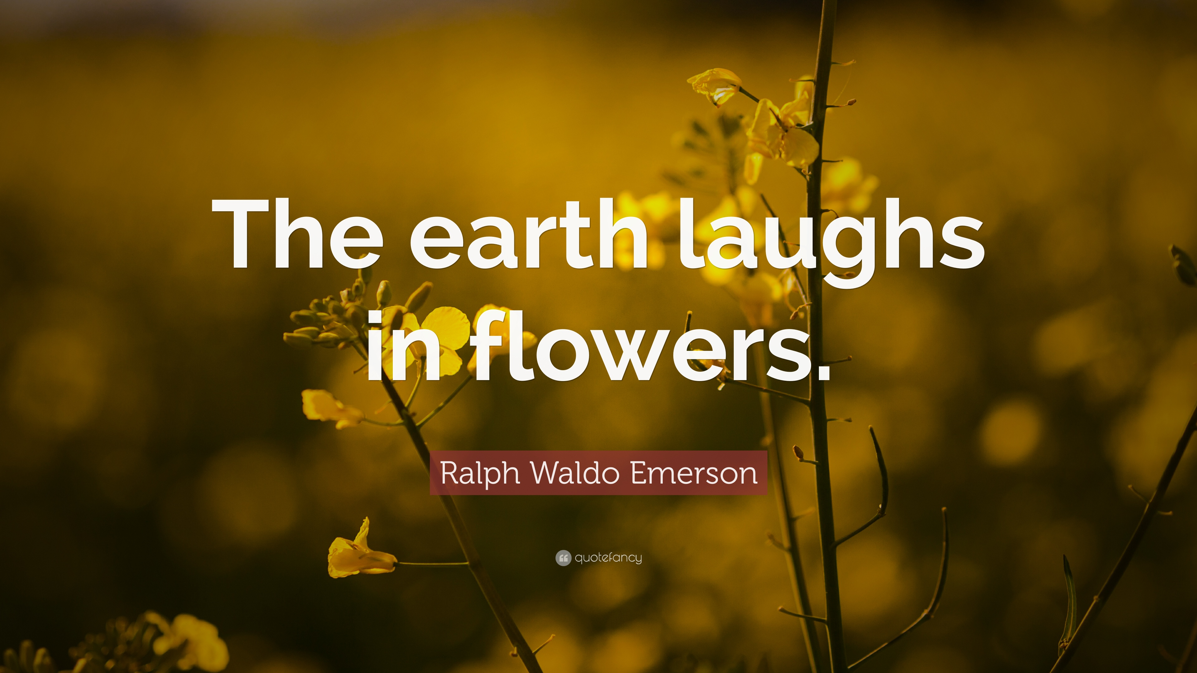 "Ralph Waldo Emerson Quote: ""The Earth Laughs In Flowers"