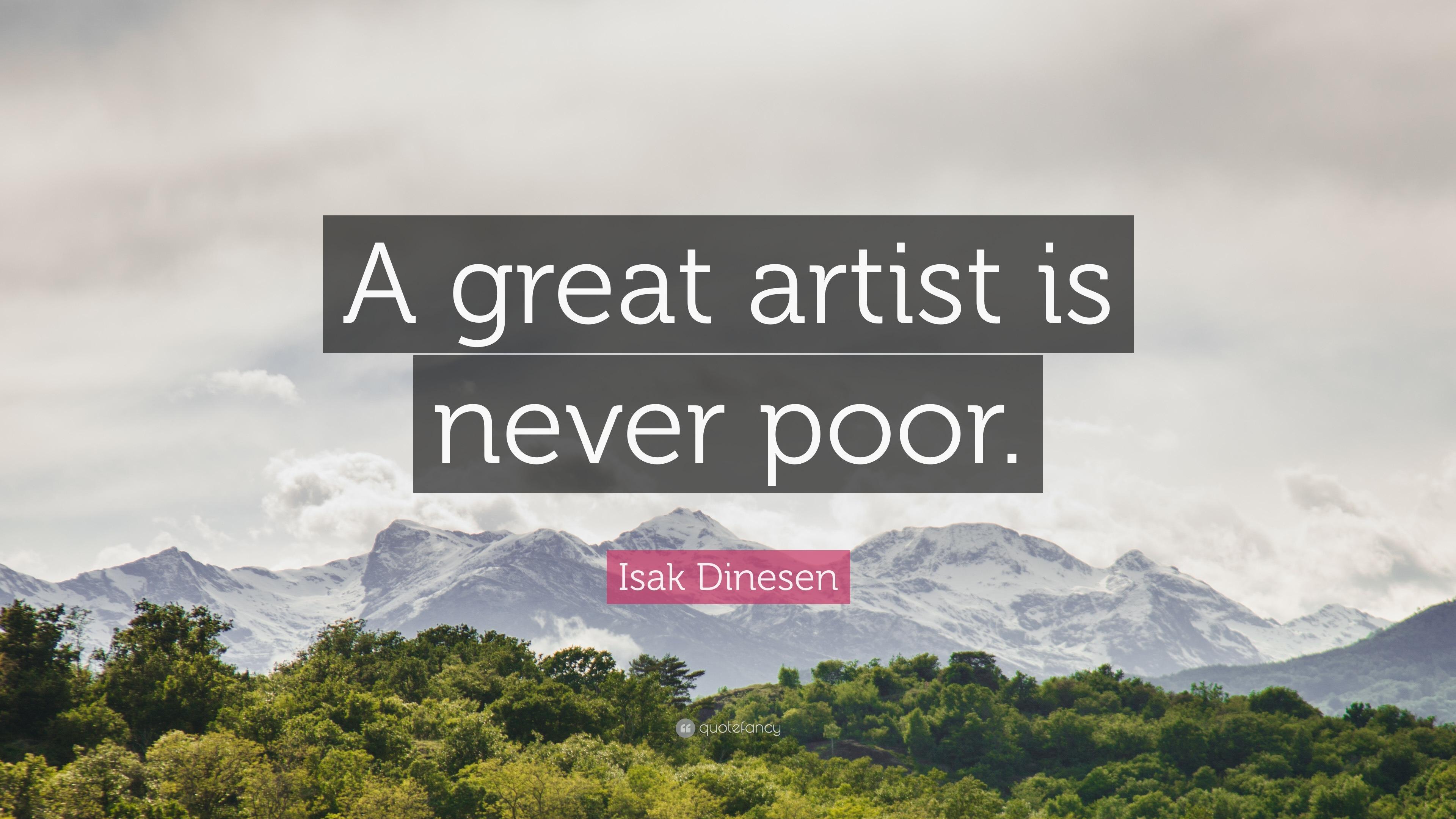 an artist is never poor