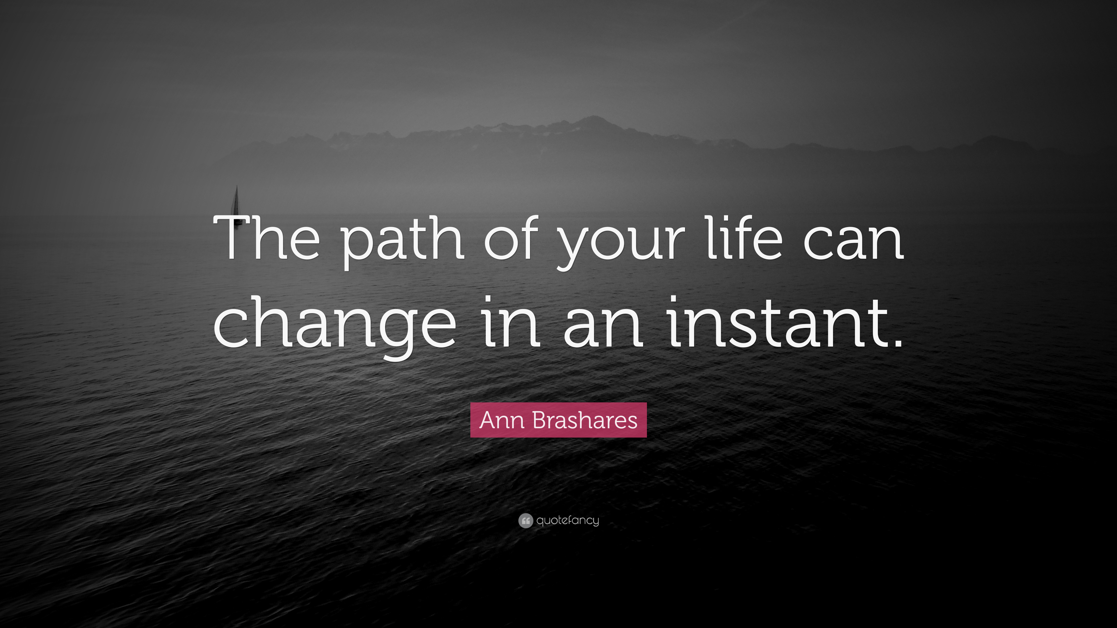 Ann Brashares Quote The Path Of Your Life Can Change In An Instant