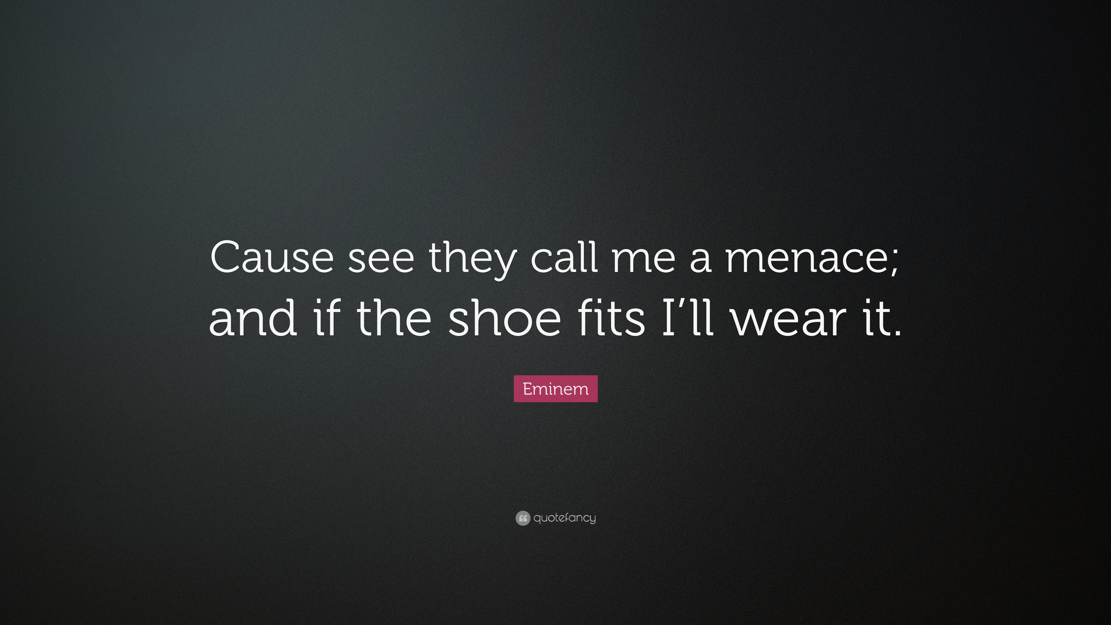 Eminem Quote Cause See They Call Me A Menace And If The Shoe Fits