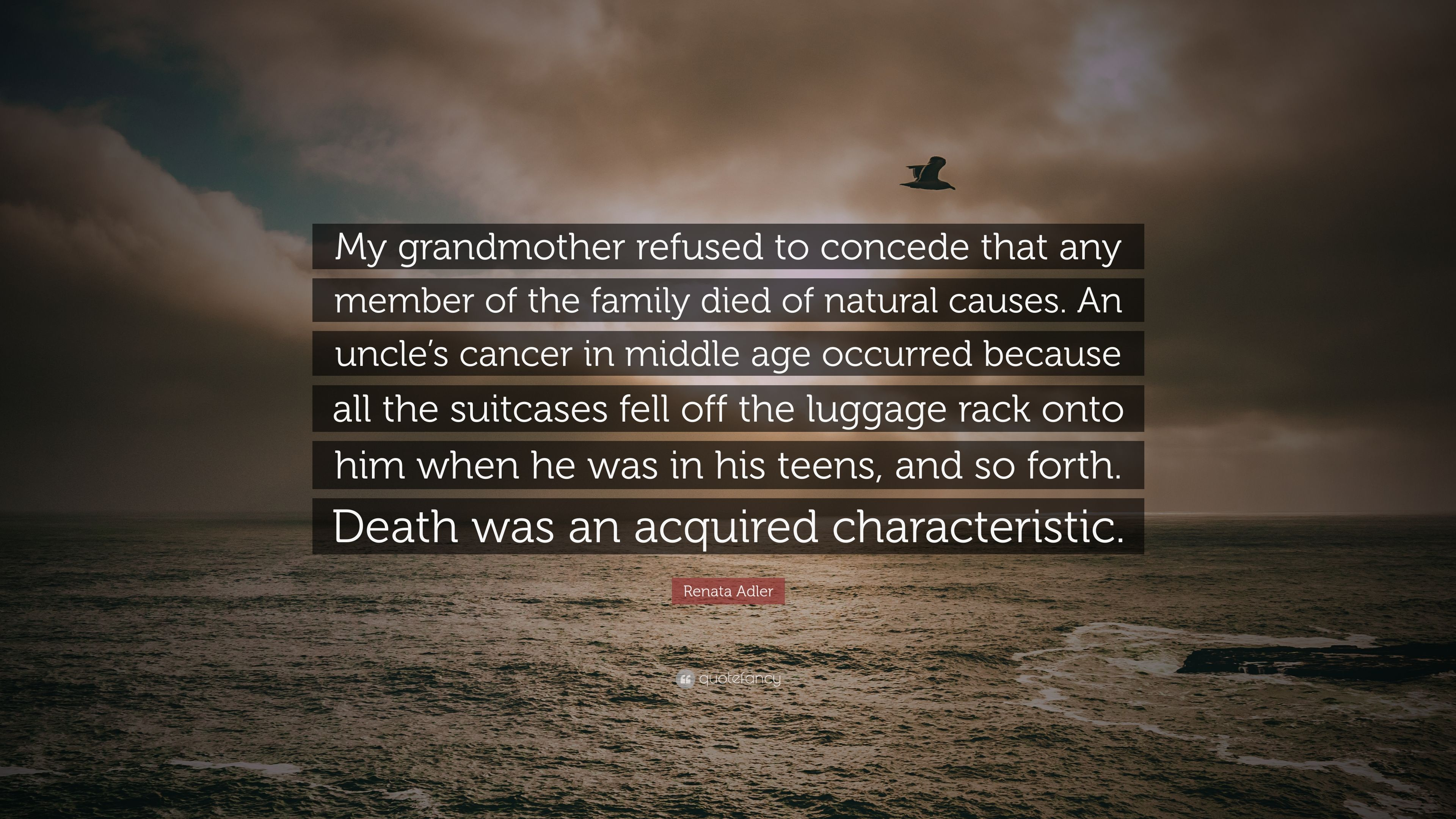 """Renata Adler Quote: """"My grandmother refused to concede that ..."""
