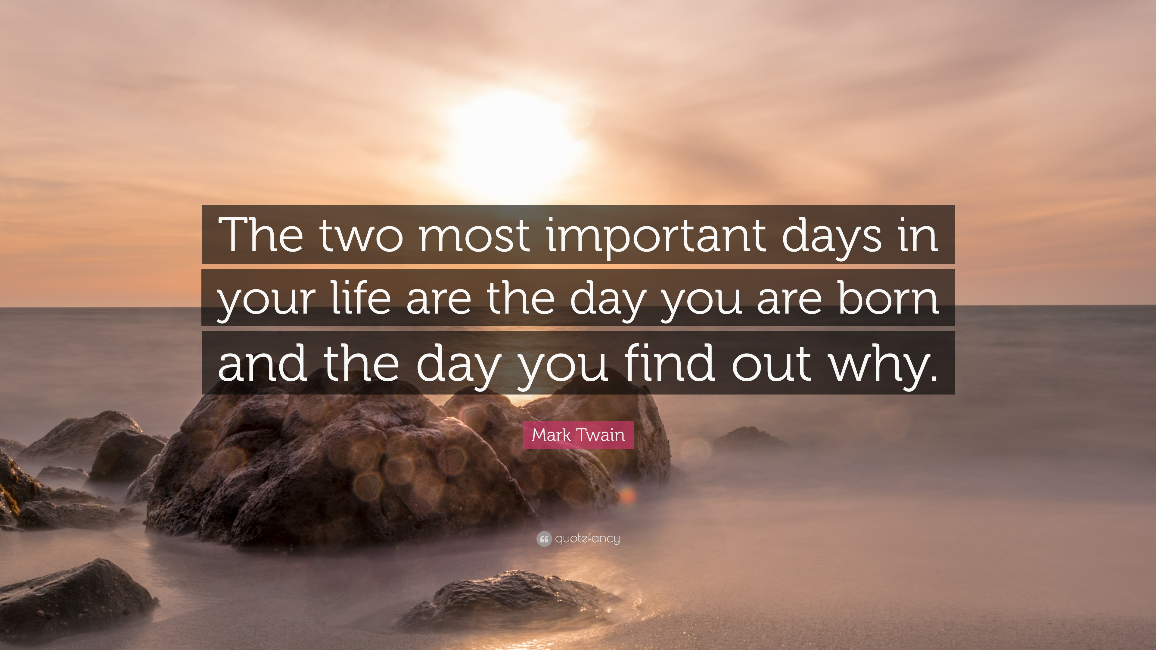 "Mark Twain Quote: ""The two most important days in your ..."