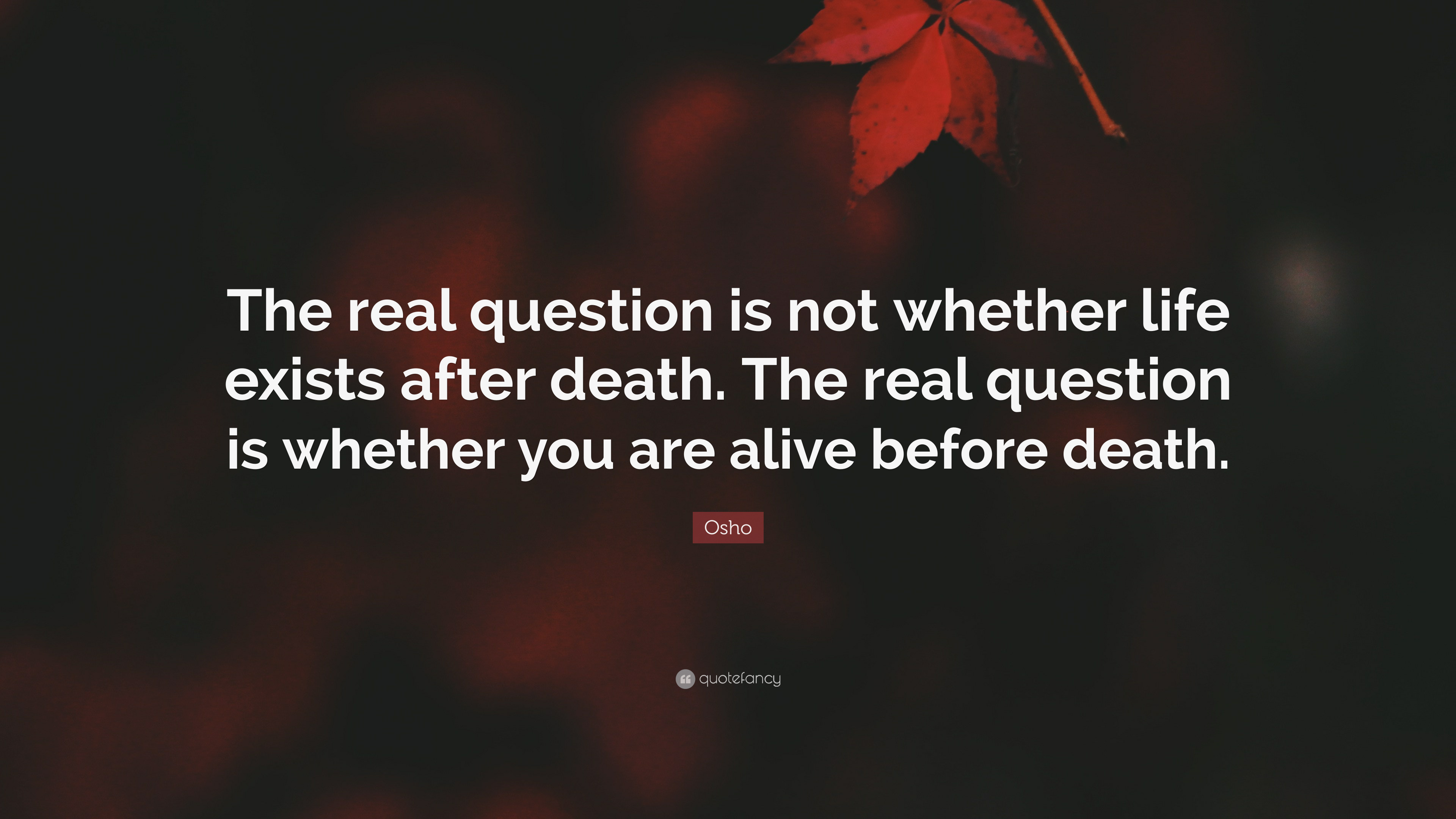 Osho Quote: U201cThe Real Question Is Not Whether Life Exists After Death. The