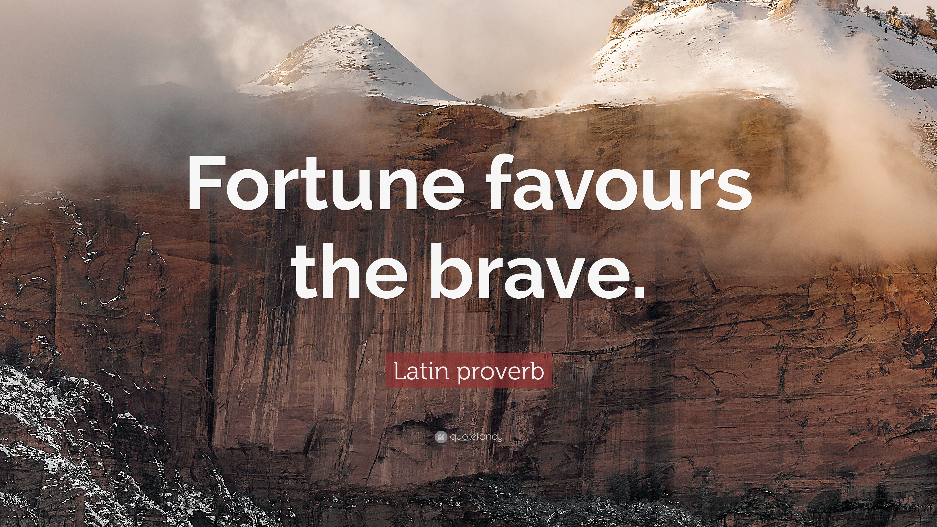 """Latin Proverb Quote: """"Fortune Favours The Brave."""" (10"""