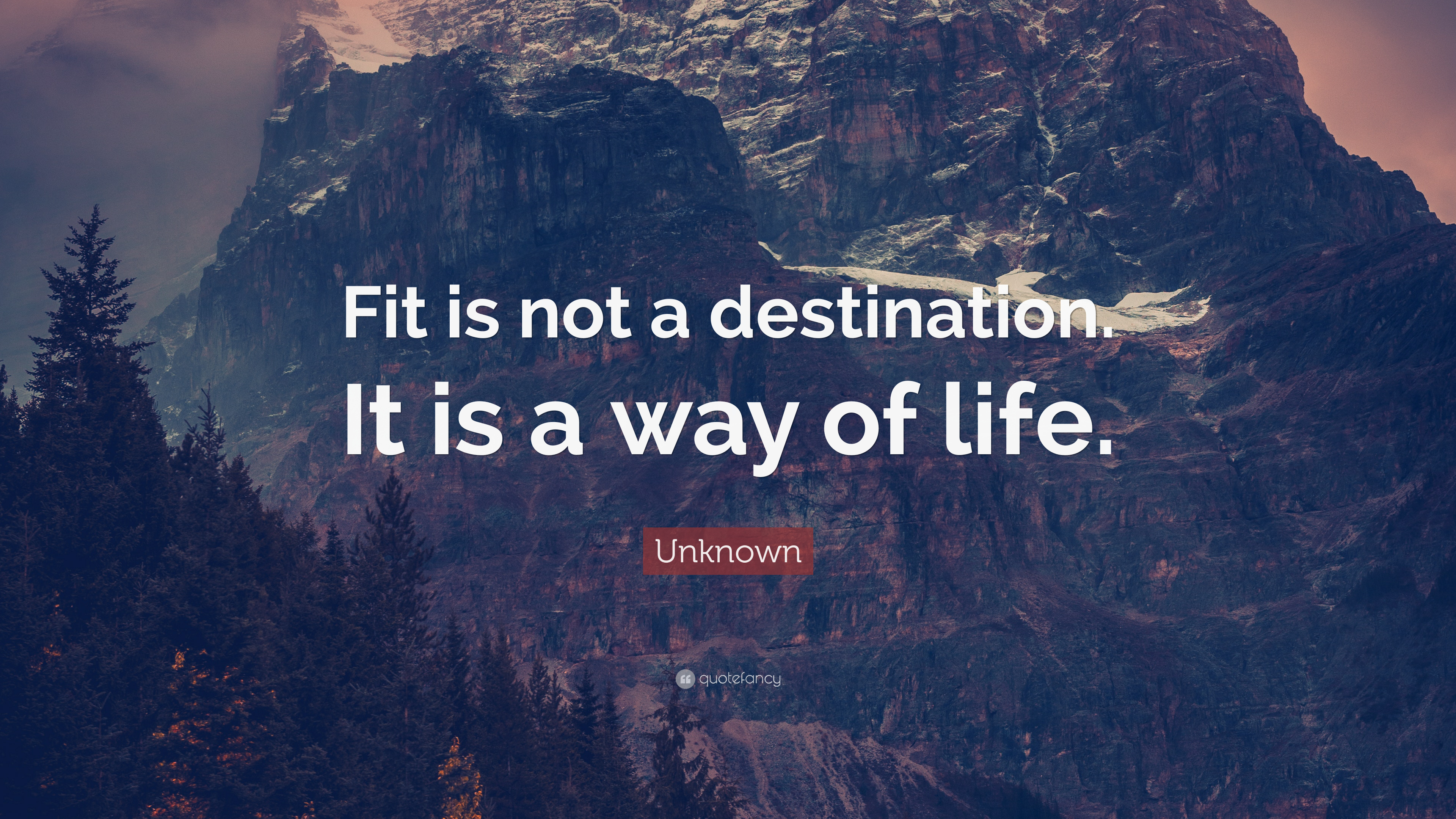 "Unknown Quote: ""Fit is not a destination. It is a way of life"