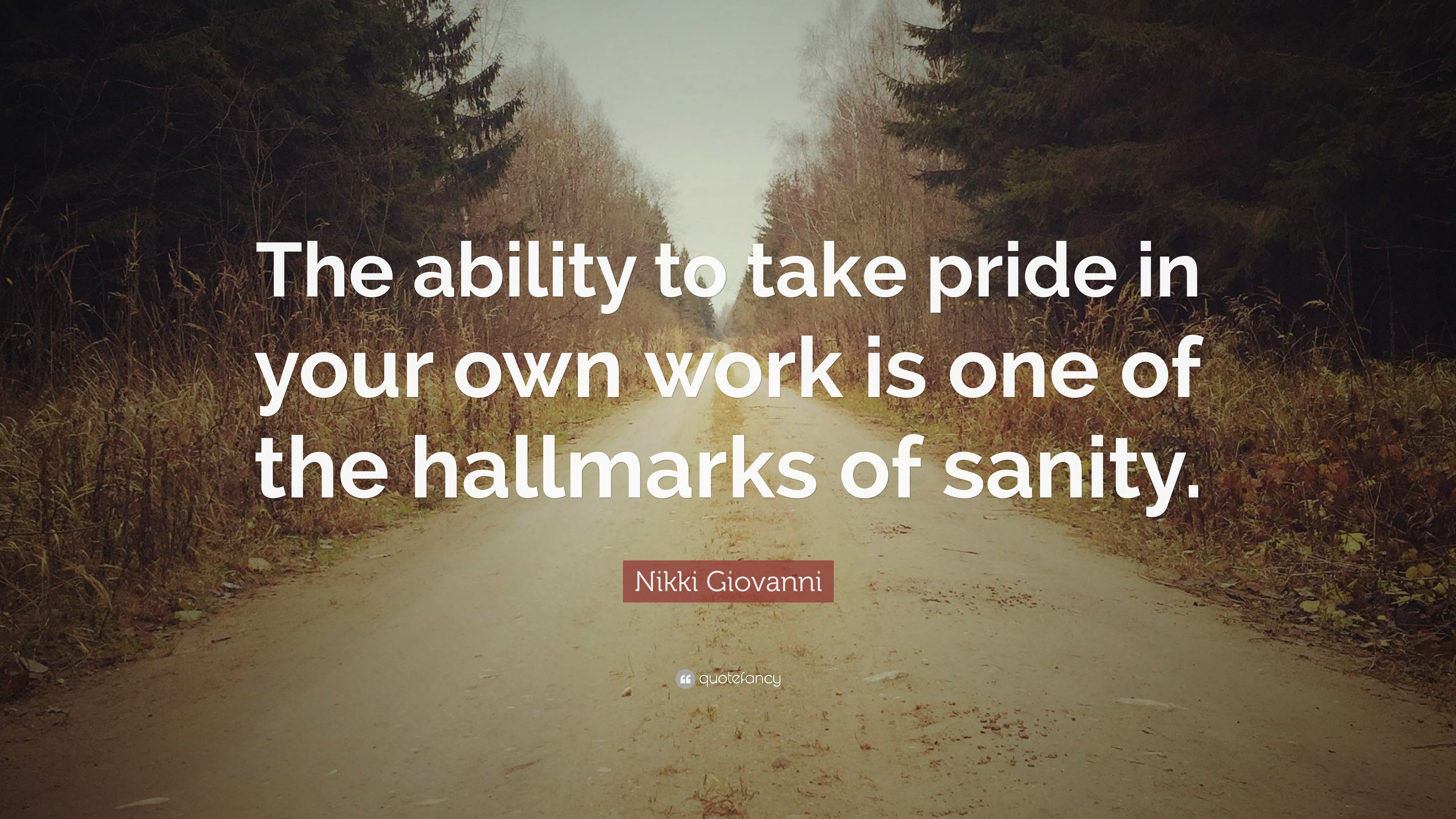 Nikki Giovanni Quote The Ability To Take Pride In Your Own Work Is