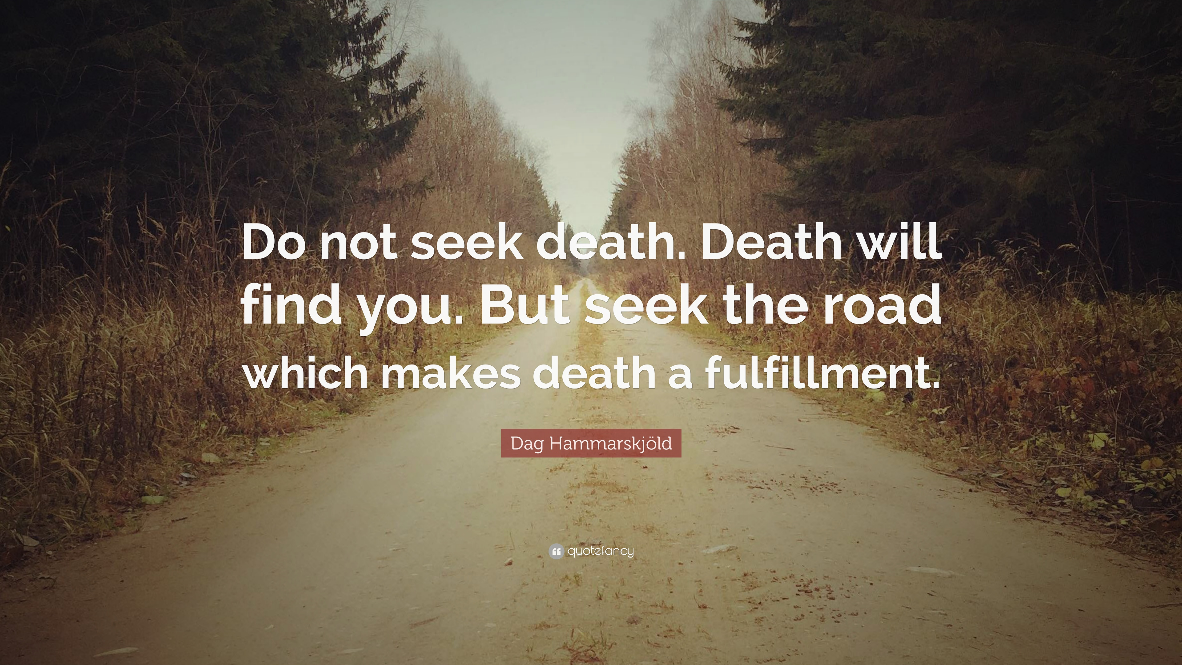 Beau Dag Hammarskjöld Quote: U201cDo Not Seek Death. Death Will Find You. But