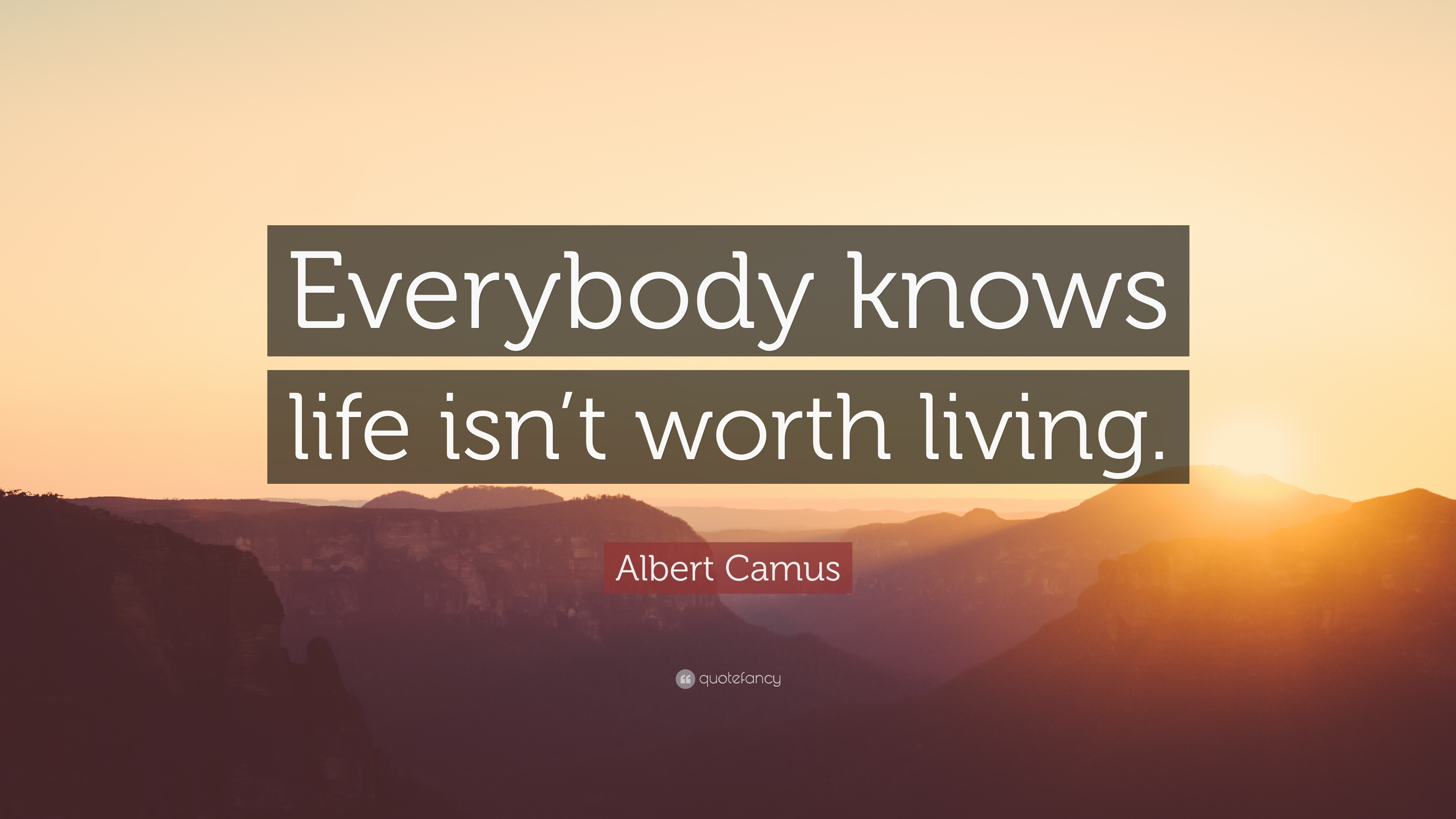 Albert Camus Quote: Everybody knows life isnt worth living.