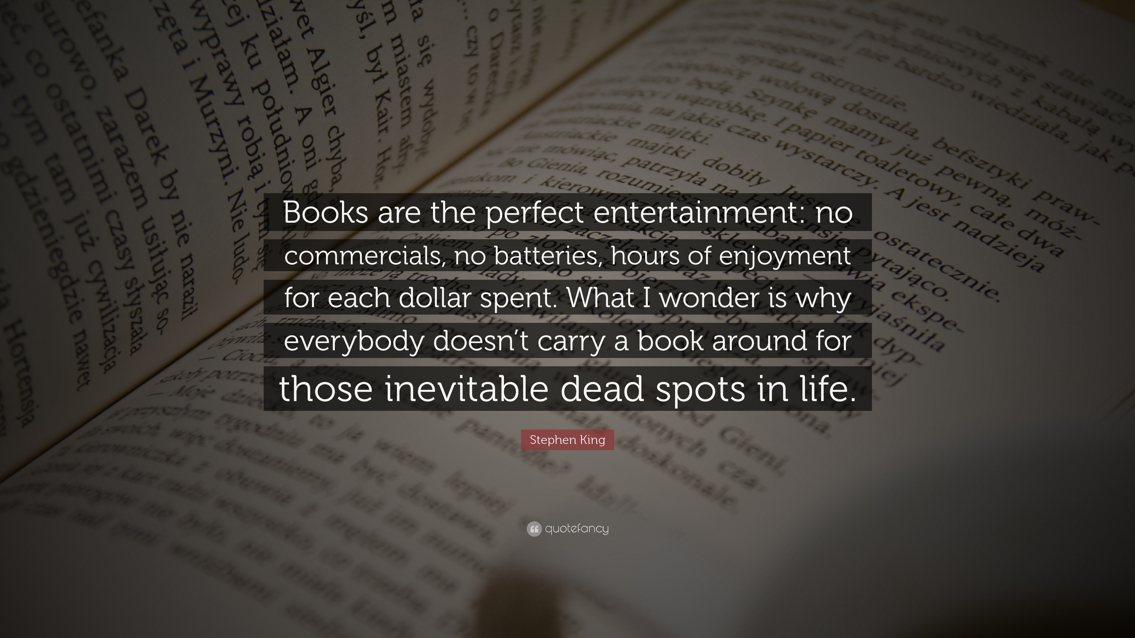 "Books With Quotes About Life Stephen King Quote ""Books Are The Perfect Entertainment No"