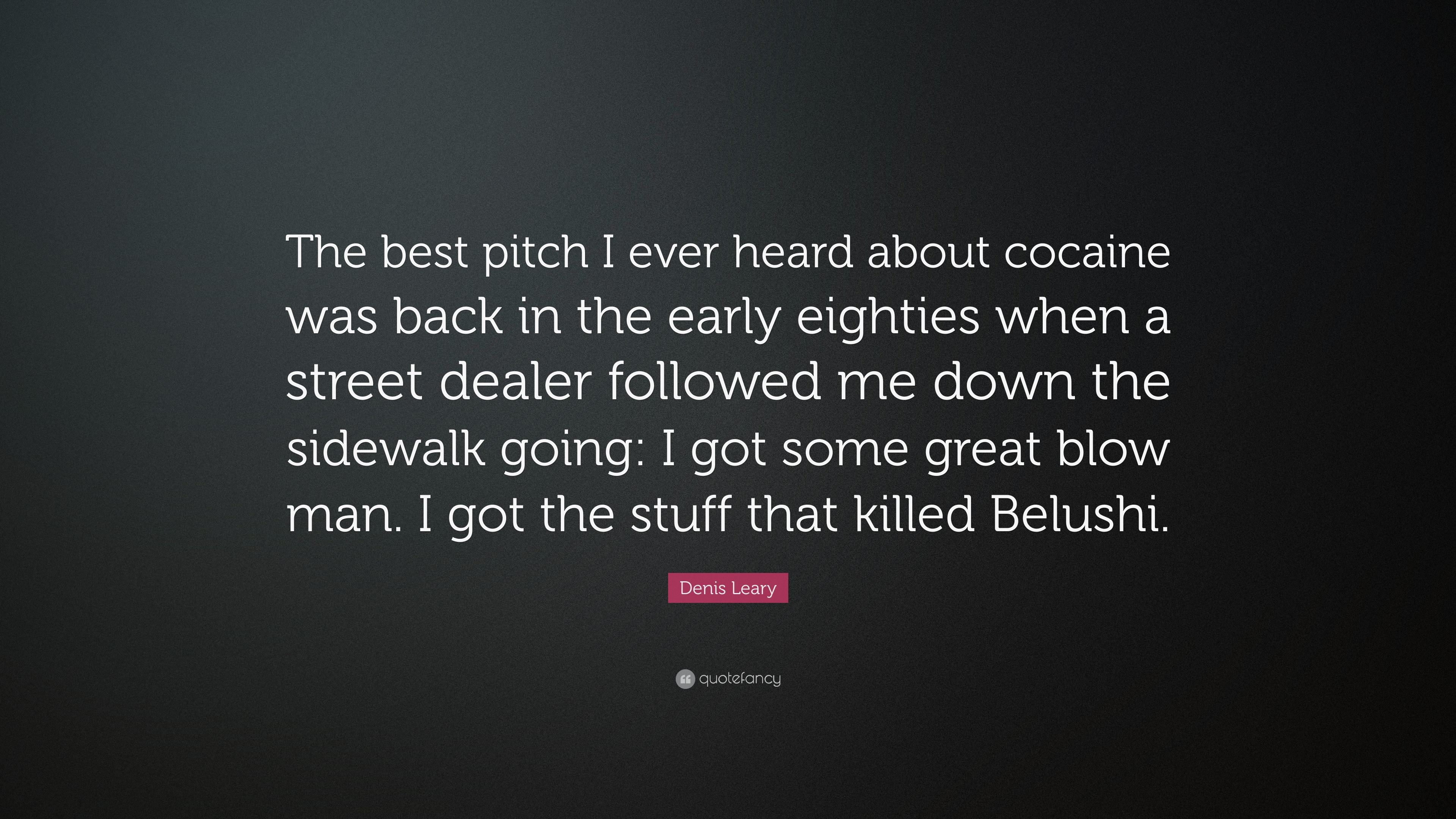Denis Leary Quote The Best Pitch I Ever Heard About Cocaine Was
