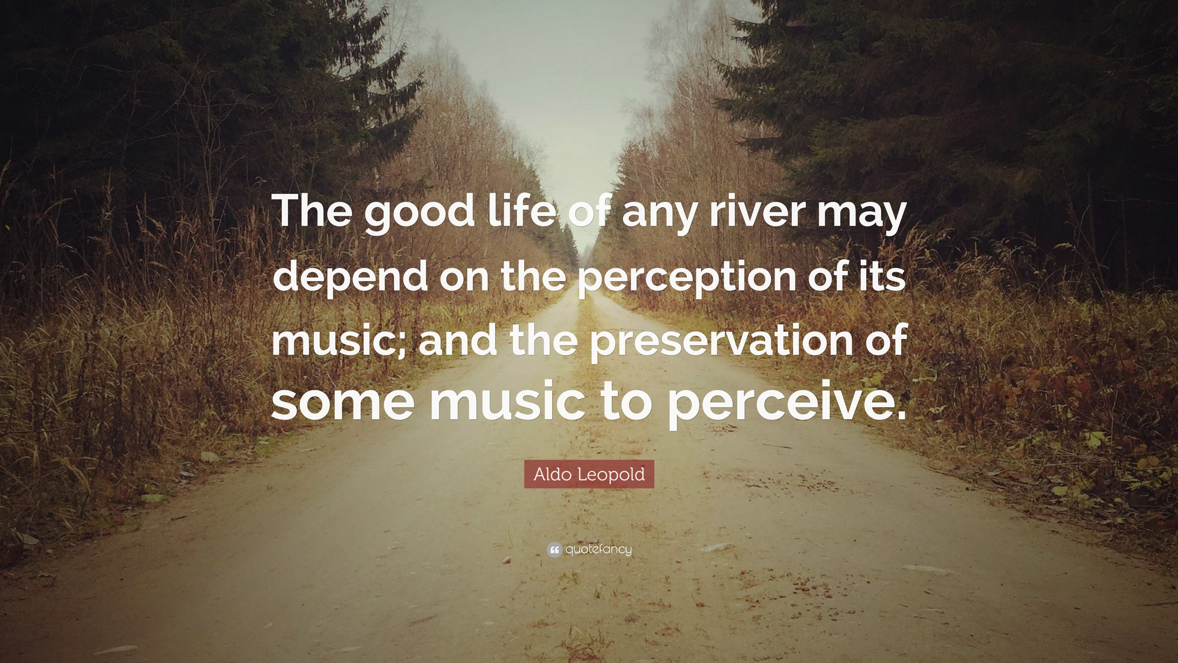 """Aldo Leopold Quote: """"The Good Life Of Any River May Depend"""