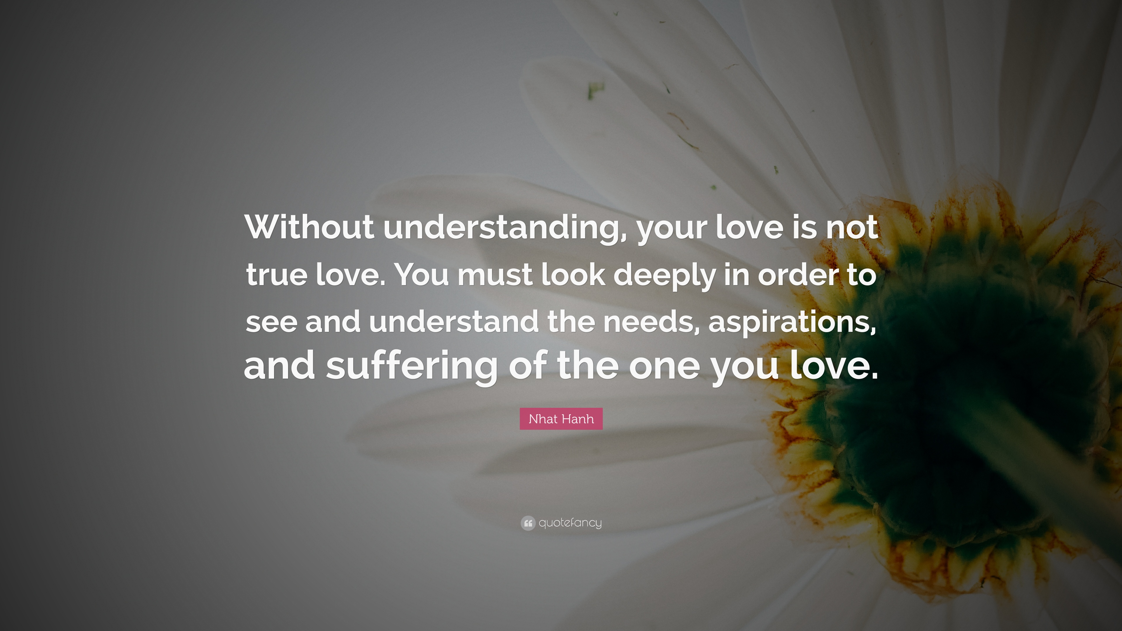 """Nhat Hanh Quote: """"Without Understanding, Your Love Is Not"""